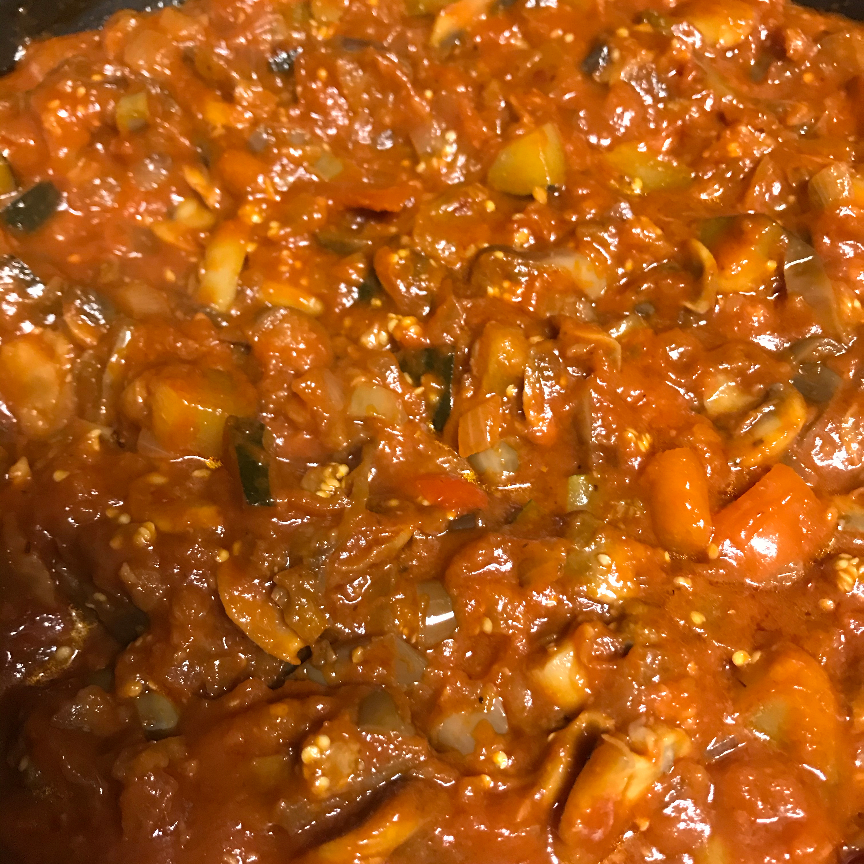 Eggplant Red Gravy with Anchovies Brenda