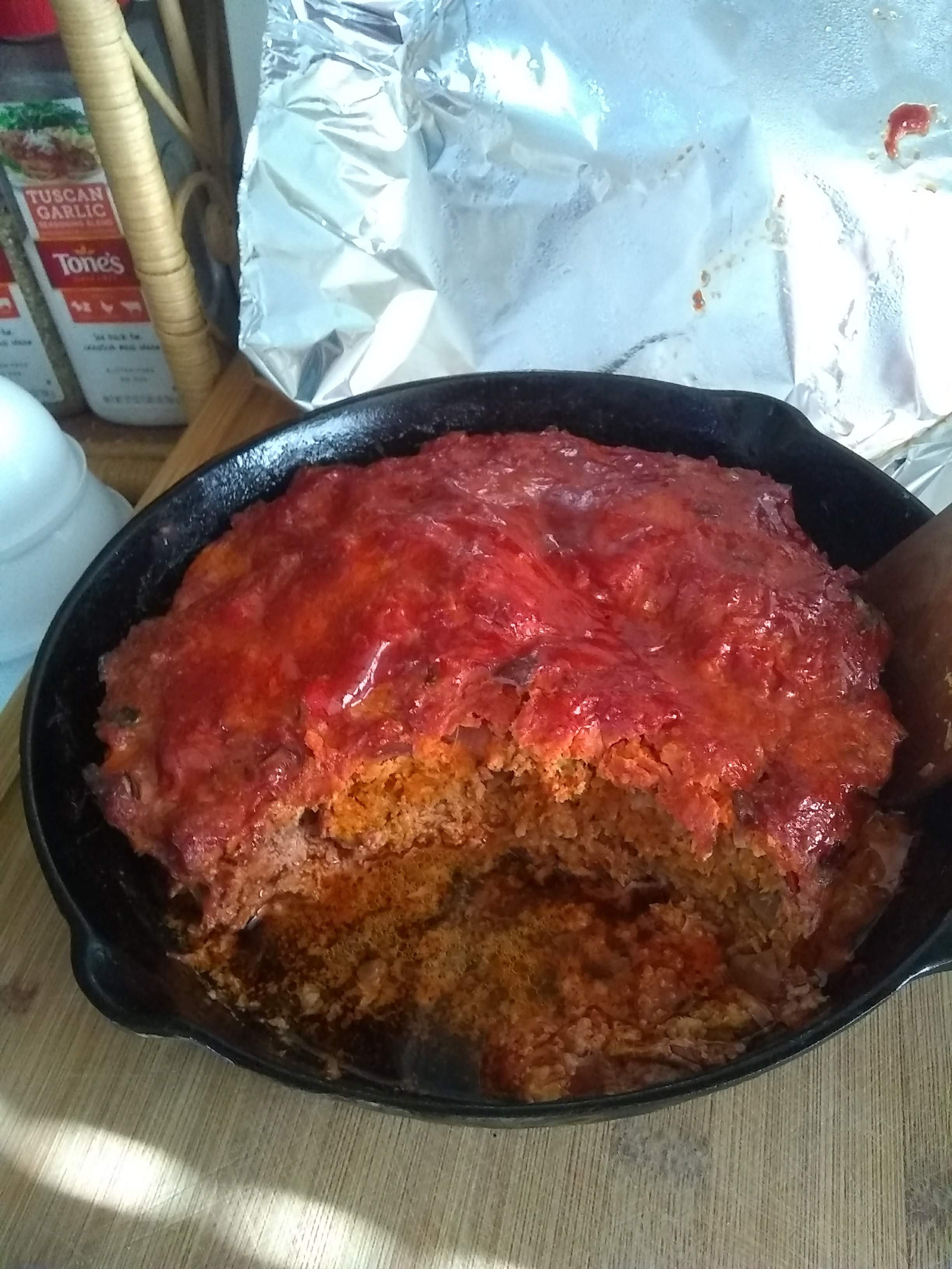 """Ethan's """"Hungry Man's Cast Iron"""" Meatloaf teacher d"""