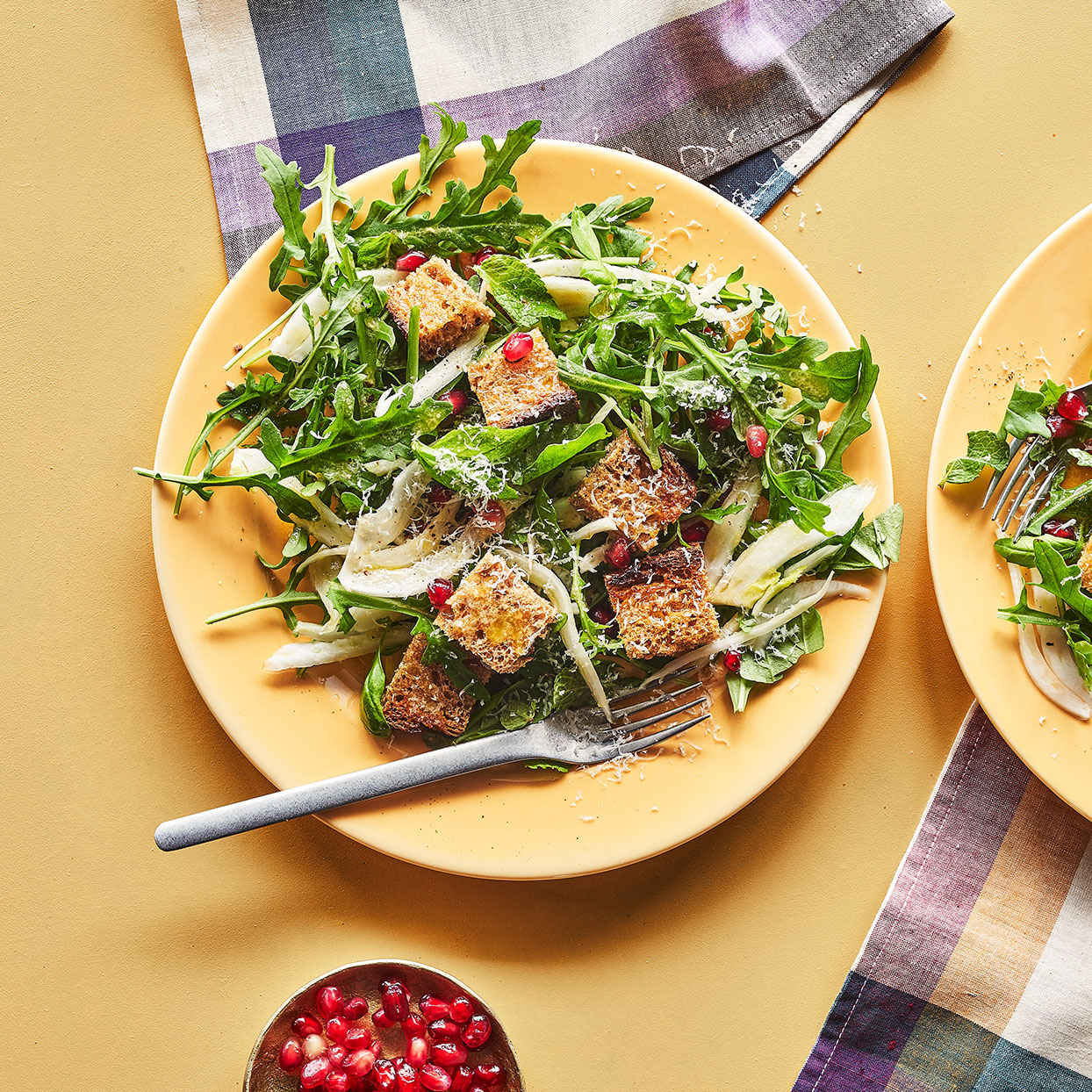 James Beard Award-winner and Top Chef contestant Karen Akunowicz of Fox & the Knife in Boston turns this Italian-inspired bread salad into a hearty fall dish. Instead of tomato, fennel mingles with the vinaigrette to let the bread soak up its licorice notes, while the arugula lends the dish a hint of pepper. The lemony vinaigrette is so simple and tastes so much fresher than store-bought. Make a double batch to toss on other salads. It will keep in the fridge for up to a week. Add some shredded chicken to the salad to make it a meal.