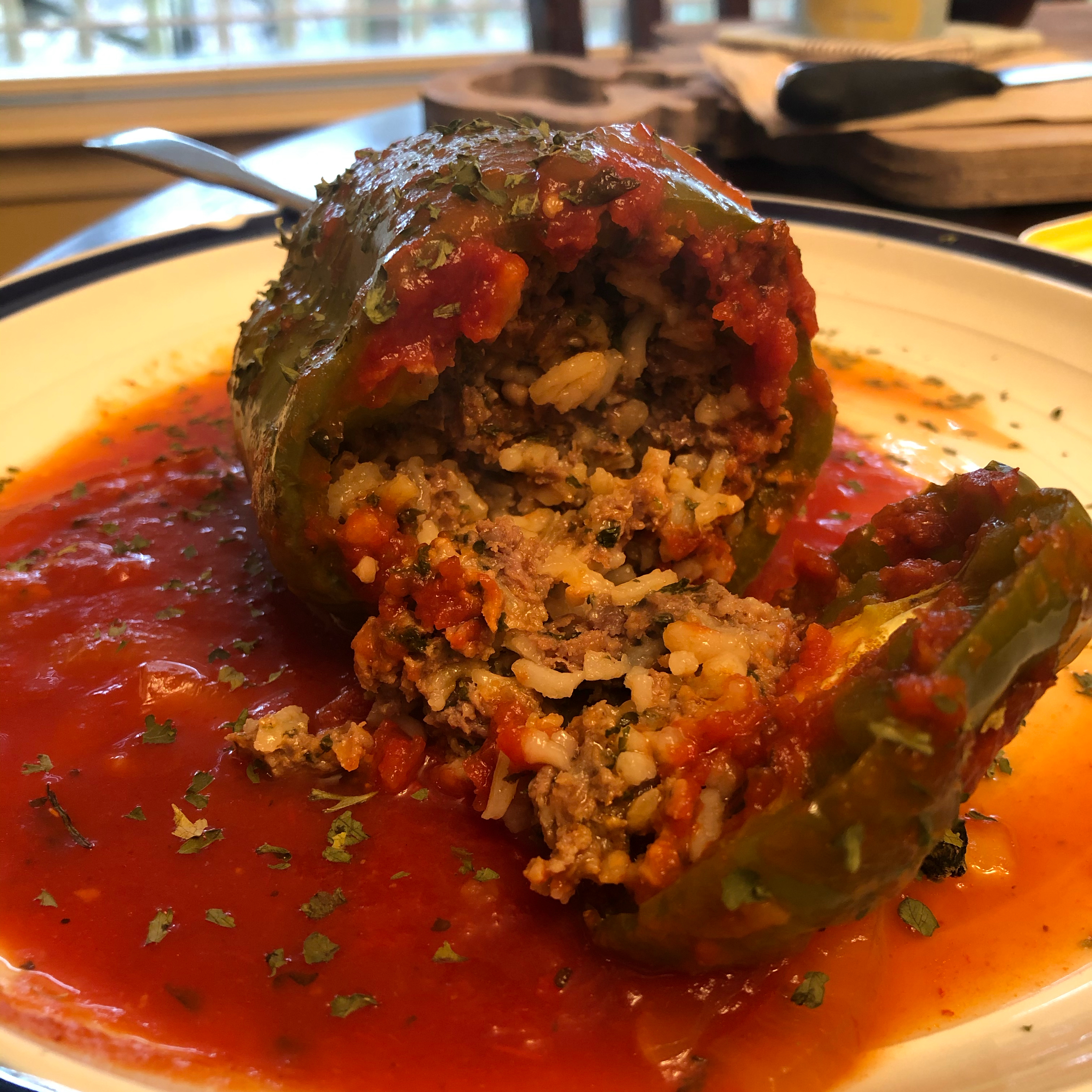 Beef and Rice Stuffed Bell Peppers lizmonster3000