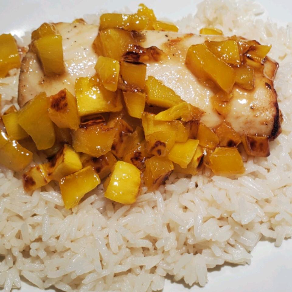 Mahi Mahi with Coconut Rice and Mango Salsa