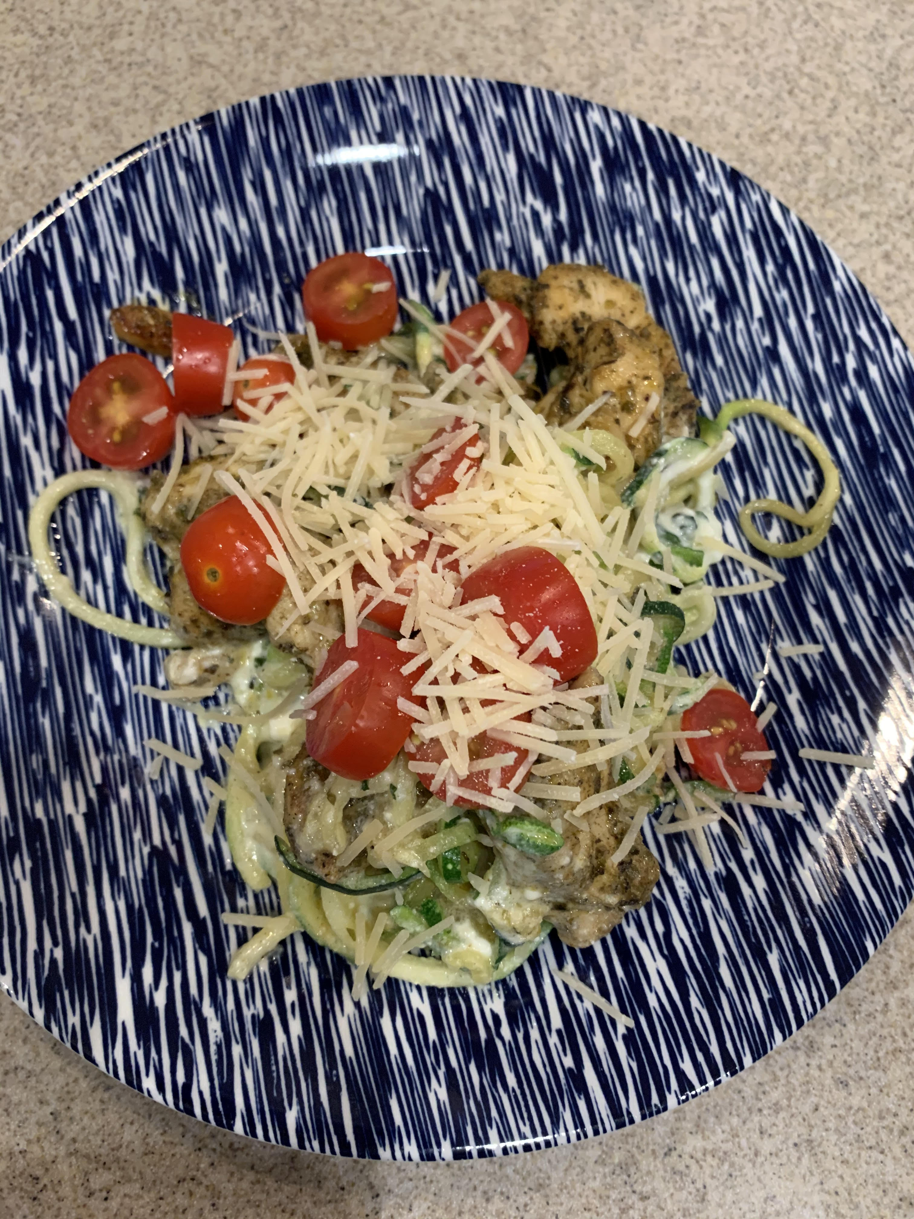Lemon Herb Chicken with Zucchini Pasta and Ricotta dbqgal59@gmail.com