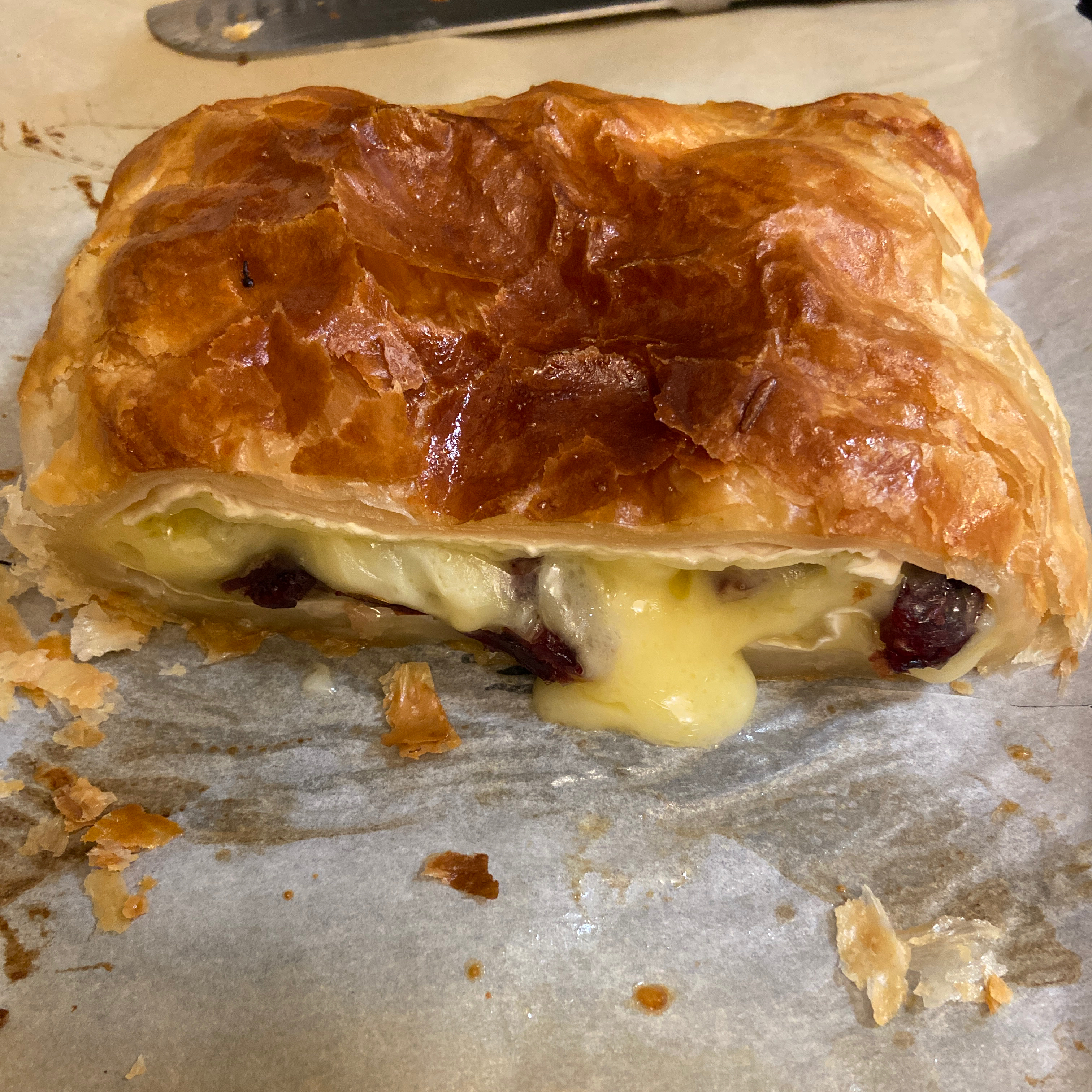 Baked Stuffed Brie with Cranberries & Walnuts