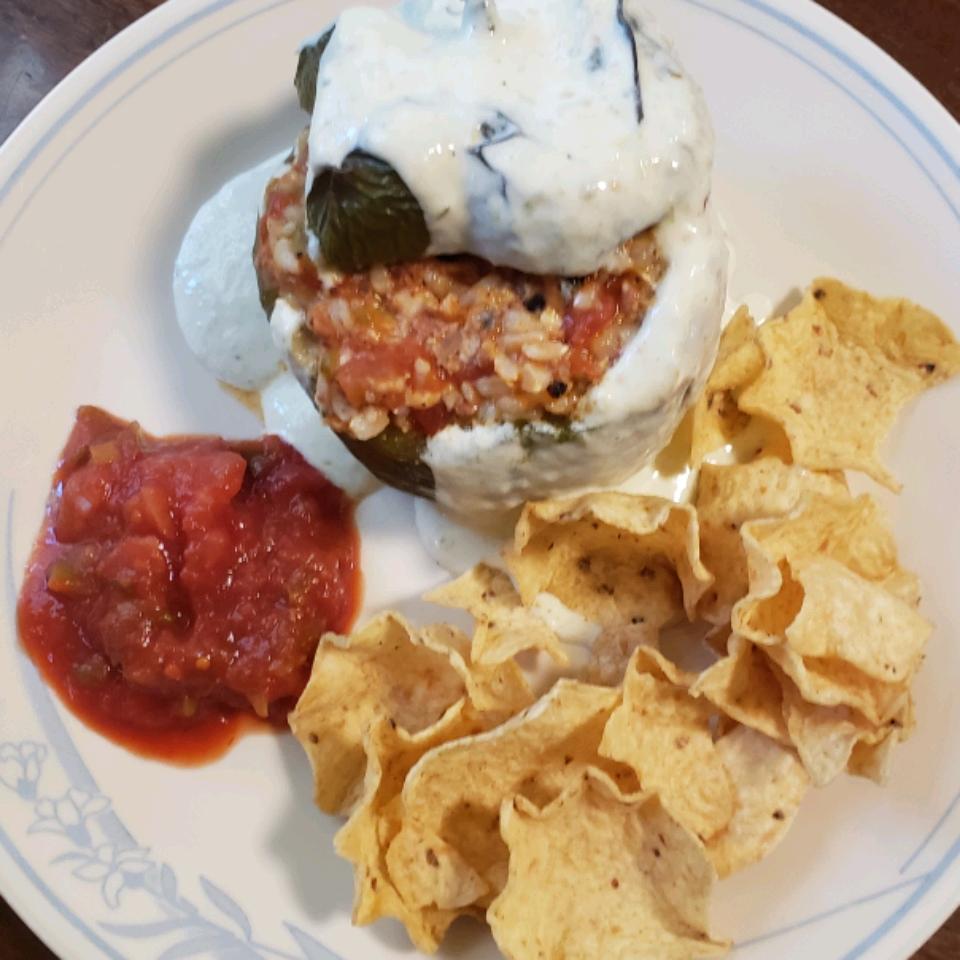 Chorizo-Stuffed Peppers with Green Chile Ranchero Sauce cooking Kiff