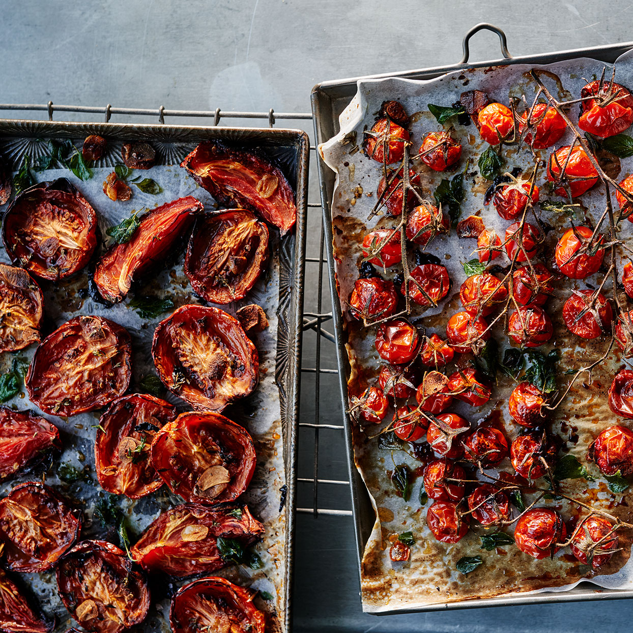 Slowly cooking summer-ripe tomatoes in a low oven makes them candy-sweet. Turn to this recipe to preserve the summer bounty from your garden or farmers' market; it freezes well for up to 6 months. Tuck these tasty bites into sandwiches; stir them into risotto; or chop them and mix with Kalamata olives, olive oil and fresh herbs to scoop up with pita chips. Source: EatingWell Magazine, September 2020
