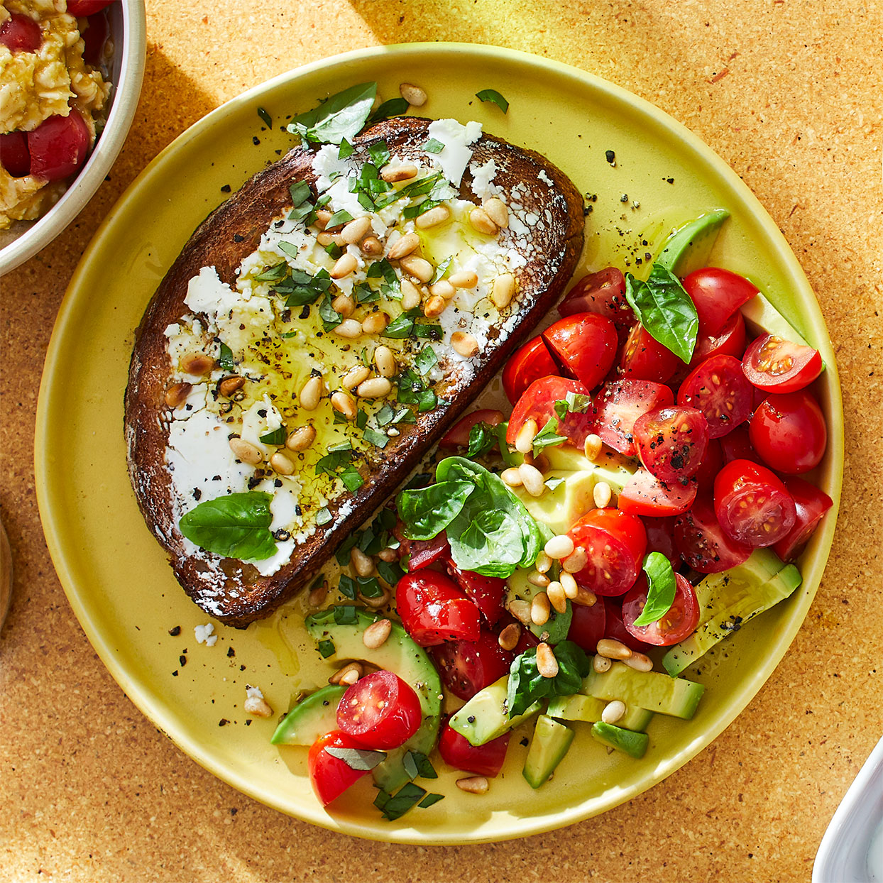 Open-Face Goat Cheese Sandwich with Tomato & Avocado Salad Allrecipes Trusted Brands