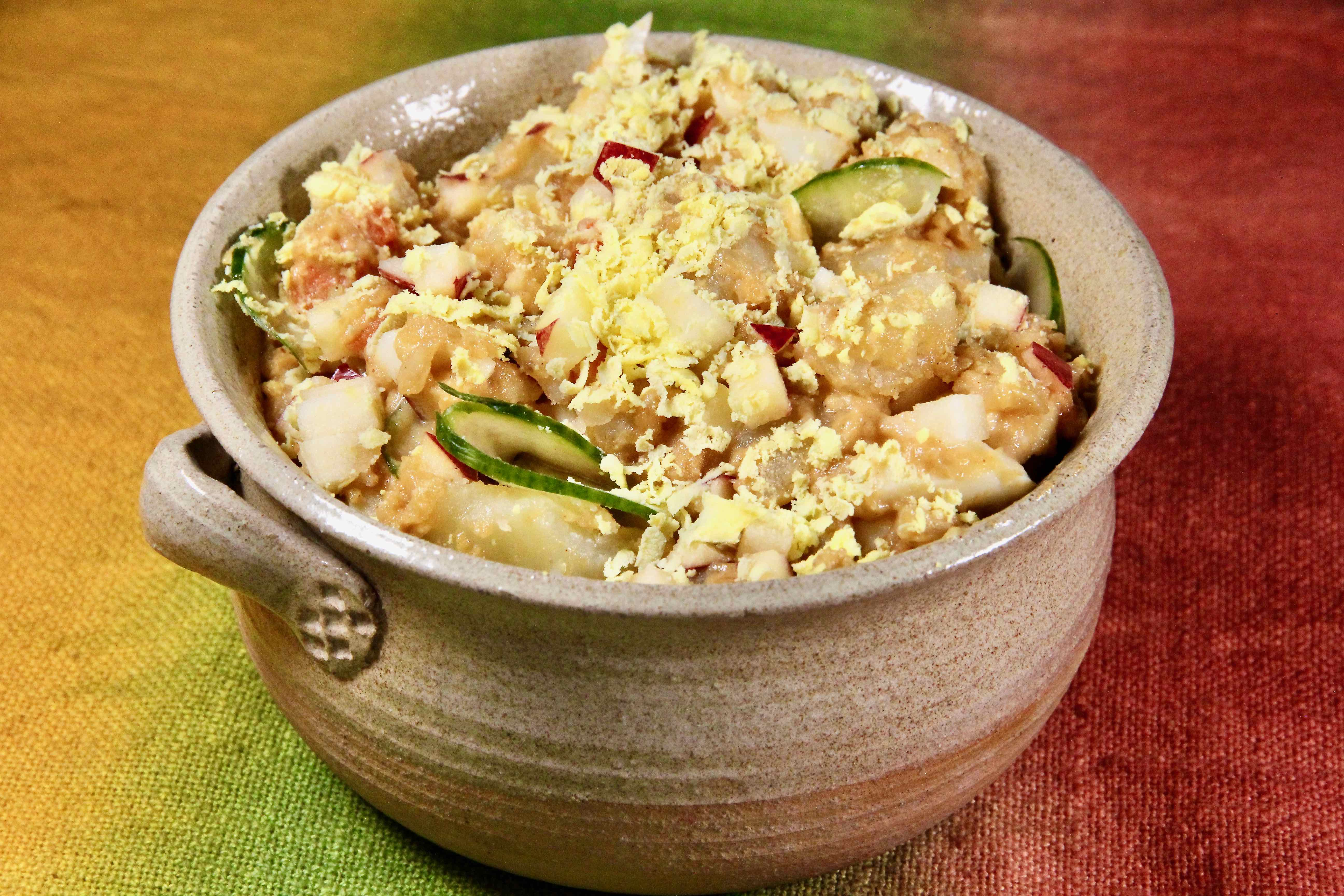 """Classic American potato salad gets a kick from Korean flavors. There's a lot going on here. """"It's creamy with a hint of sweetness, yet tangy and savory with layers of flavor and a variety of textures,"""" explains lutzflcat, the recipe submitter. """"Korean potato salad is an adaptation of America's most popular potato salad, but has its own identity when using Korean mayonnaise."""""""