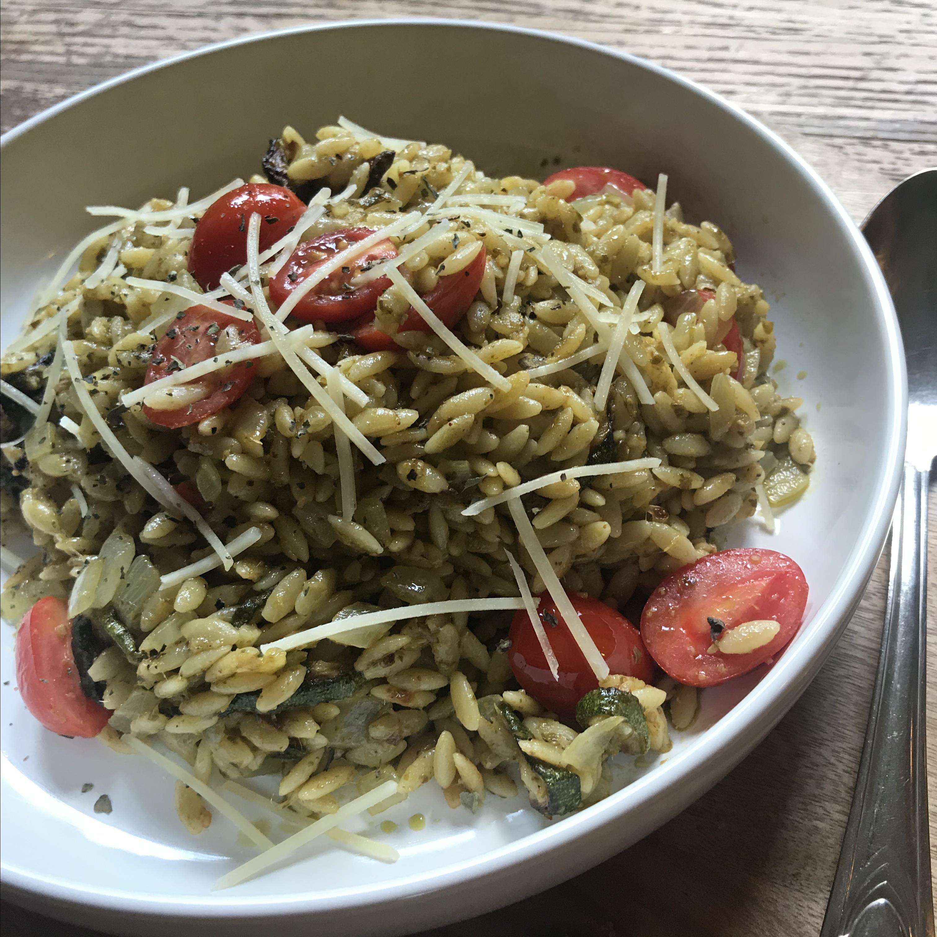 Pesto Orzo with Roasted Zucchini