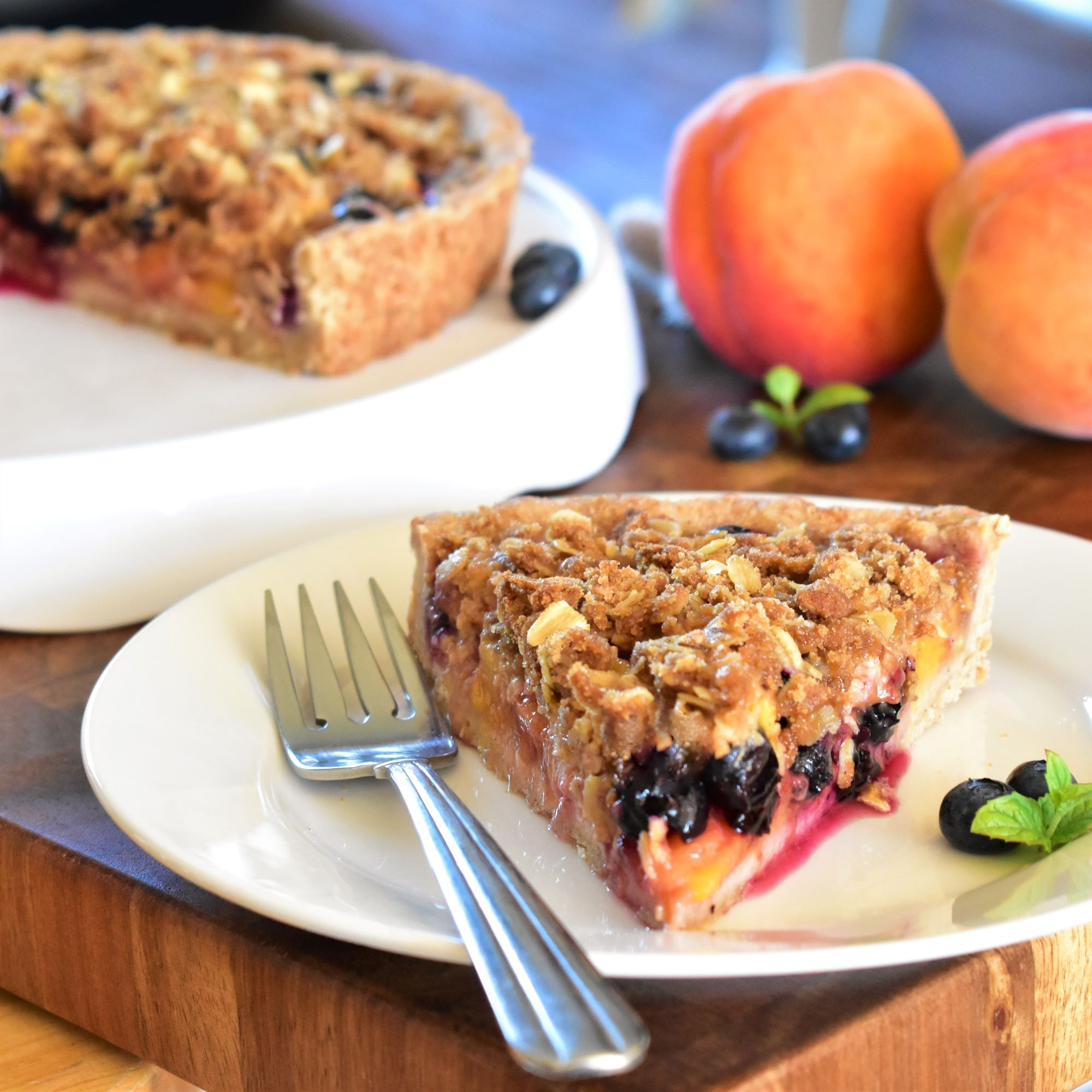 Peach-Blueberry Streusel Tart