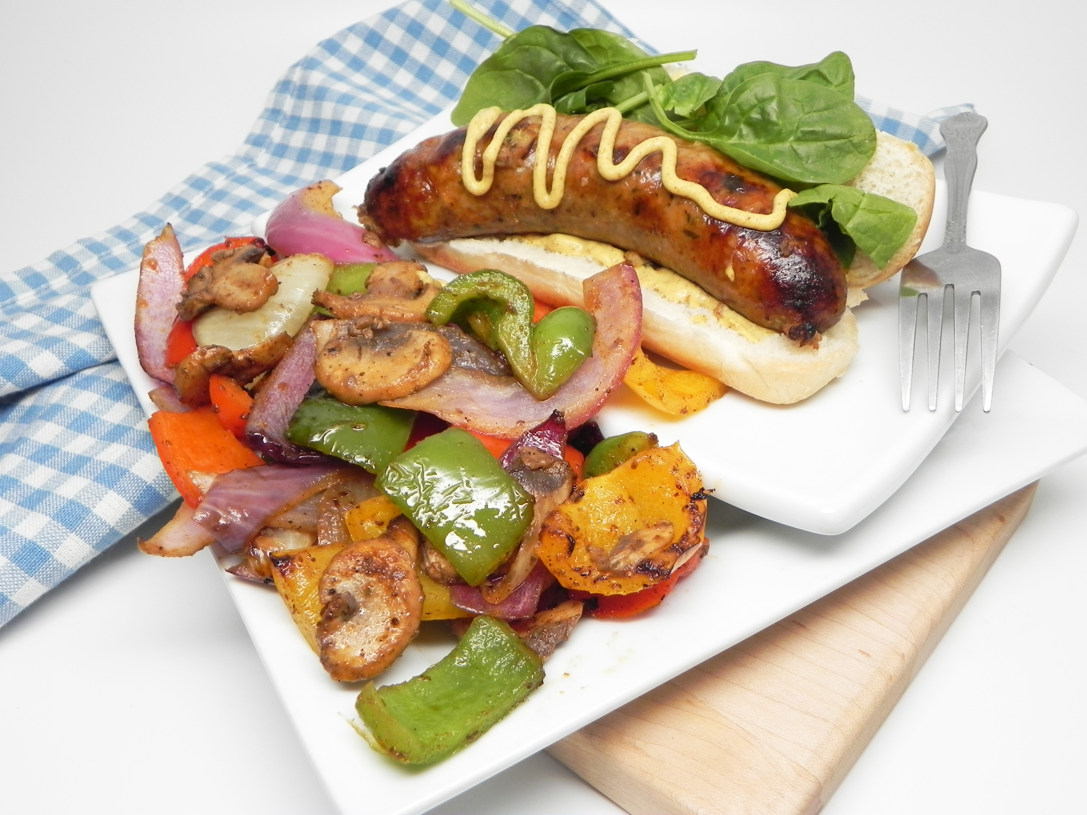 Grilled Boudin with Onions, Peppers, and Mushrooms
