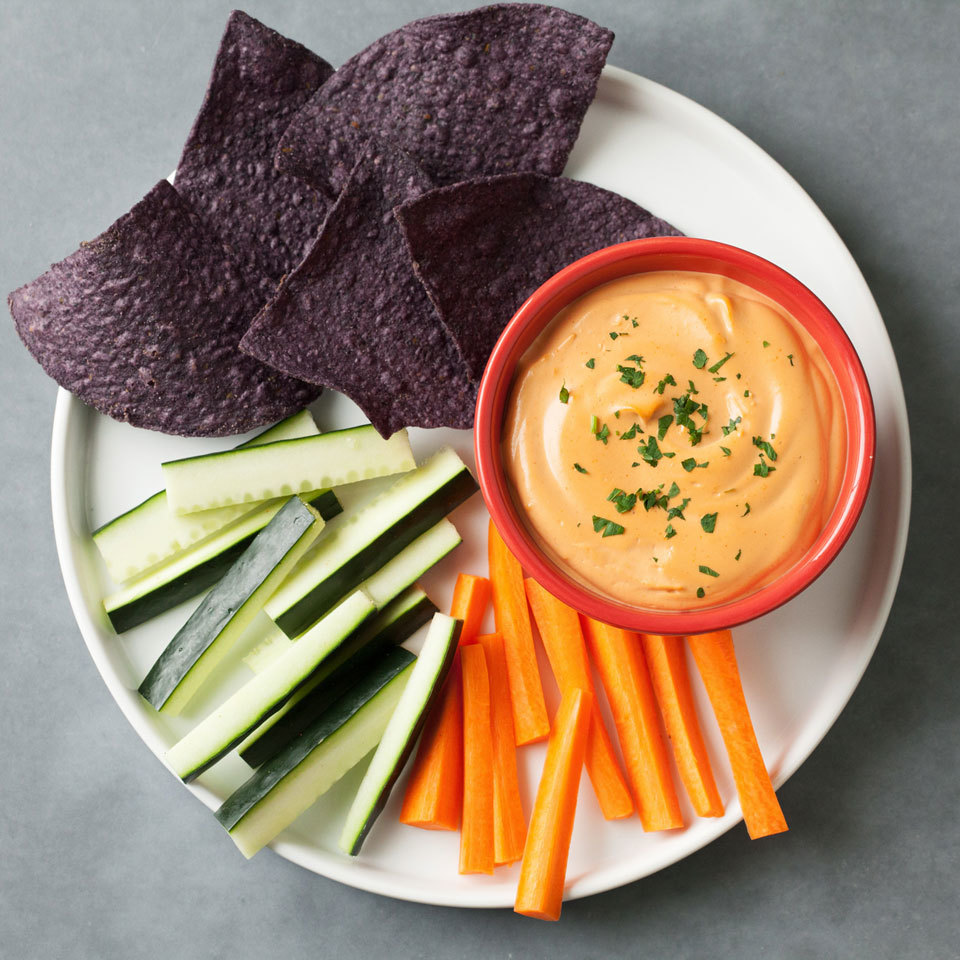 Blended cashews make for a creamy and dairy-free cheese dip. Serve with tortilla chips and veggies for an easy and healthy vegan appetizer.