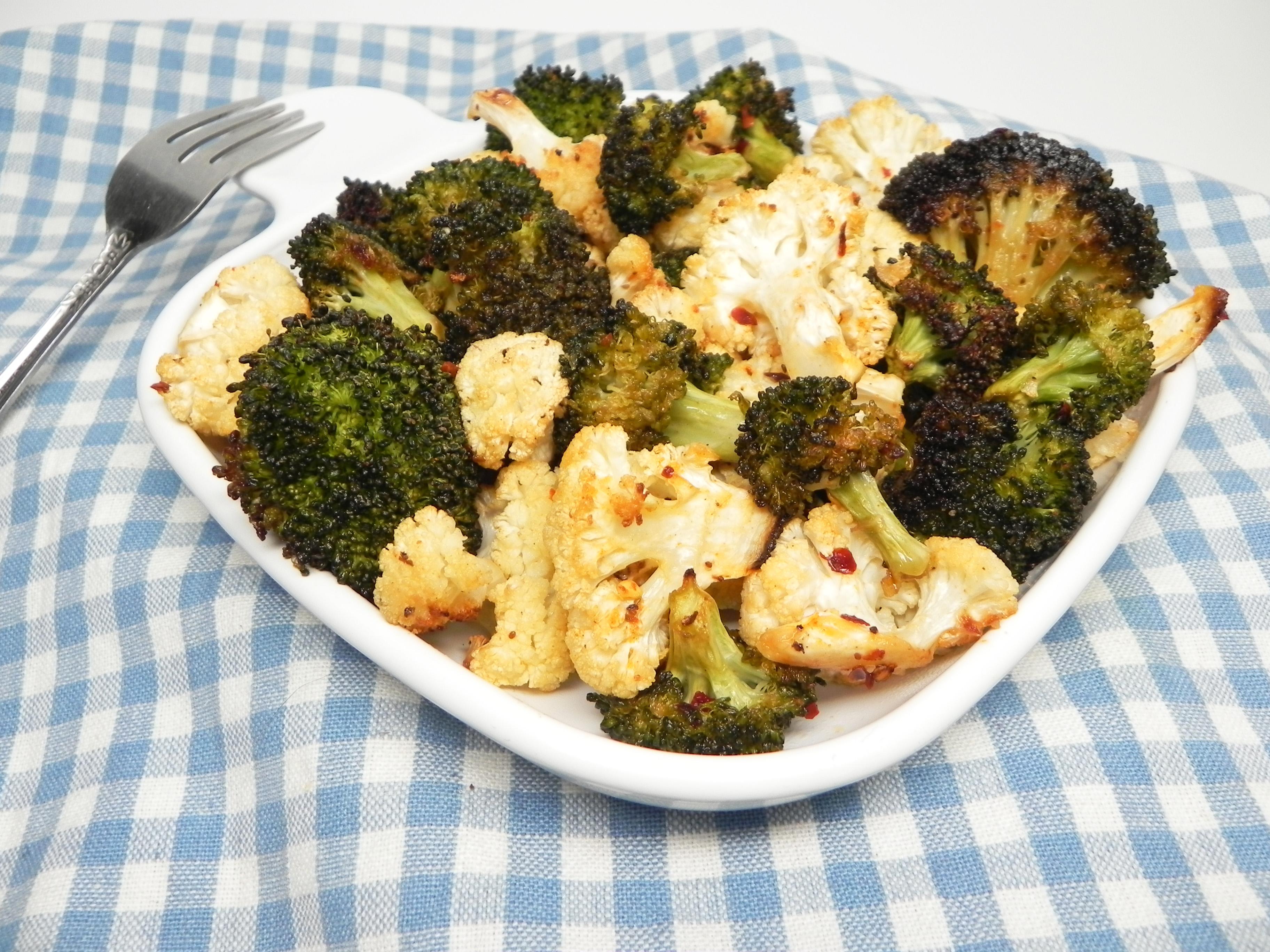 Lemon-Pepper Roasted Broccoli and Cauliflower