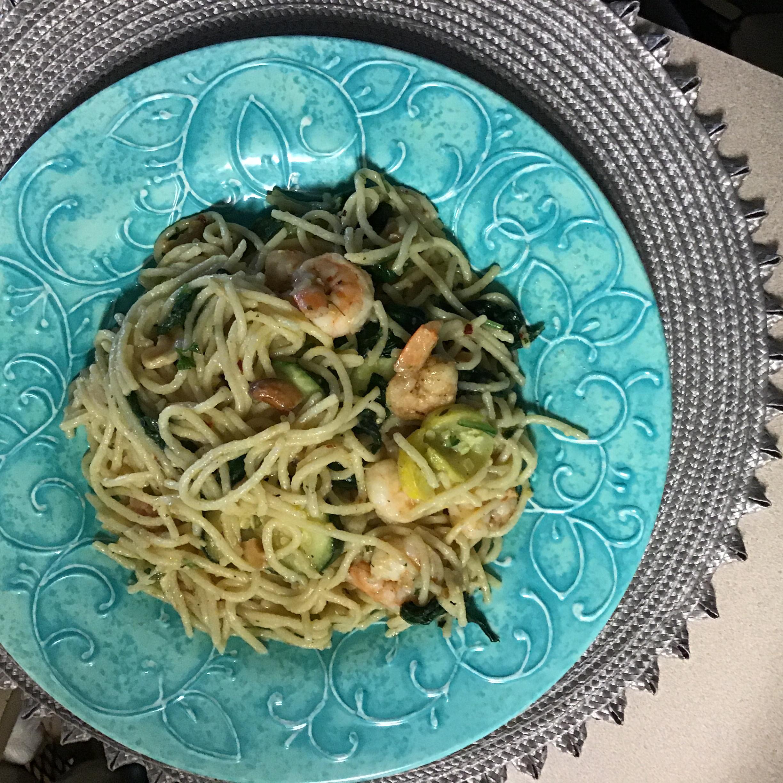 Shrimp Spaghetti in Olive Oil Dressing Pauline Evans