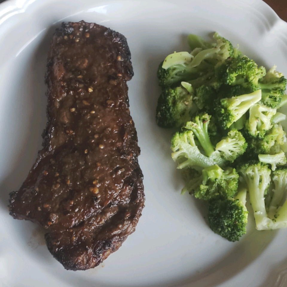 """Let the steaks marinate while you're at work, and cook them when you get home in the evening for a super-quick weekday meal. """"These air fryer rib-eye steaks definitely rival a steak cooked on a grill,"""" says ALAN."""