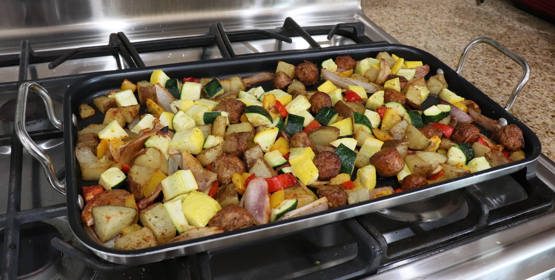 Sausage, Shallot, and Squash One-Pan Meal