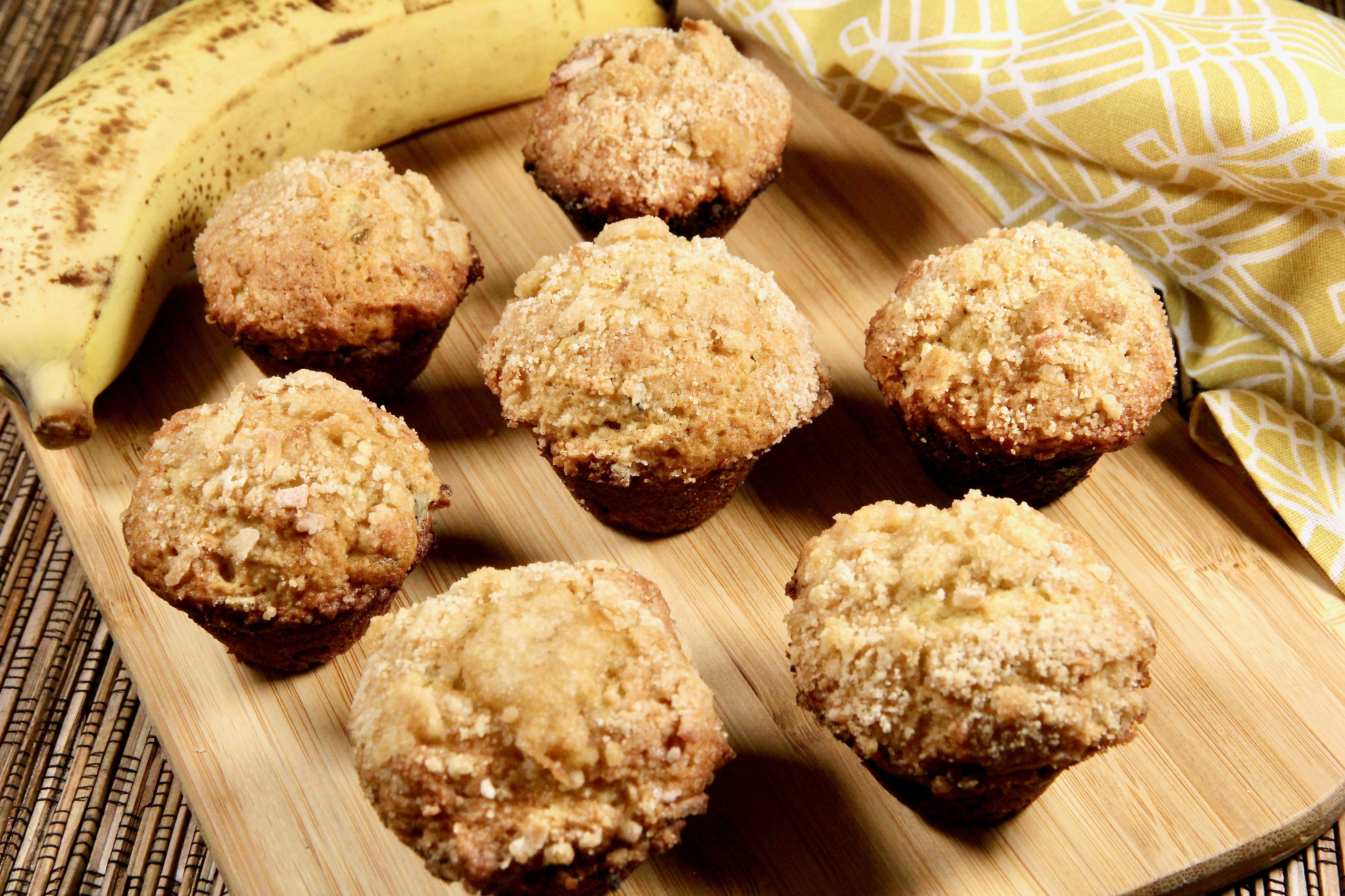 Lemony Banana Crumb Muffins