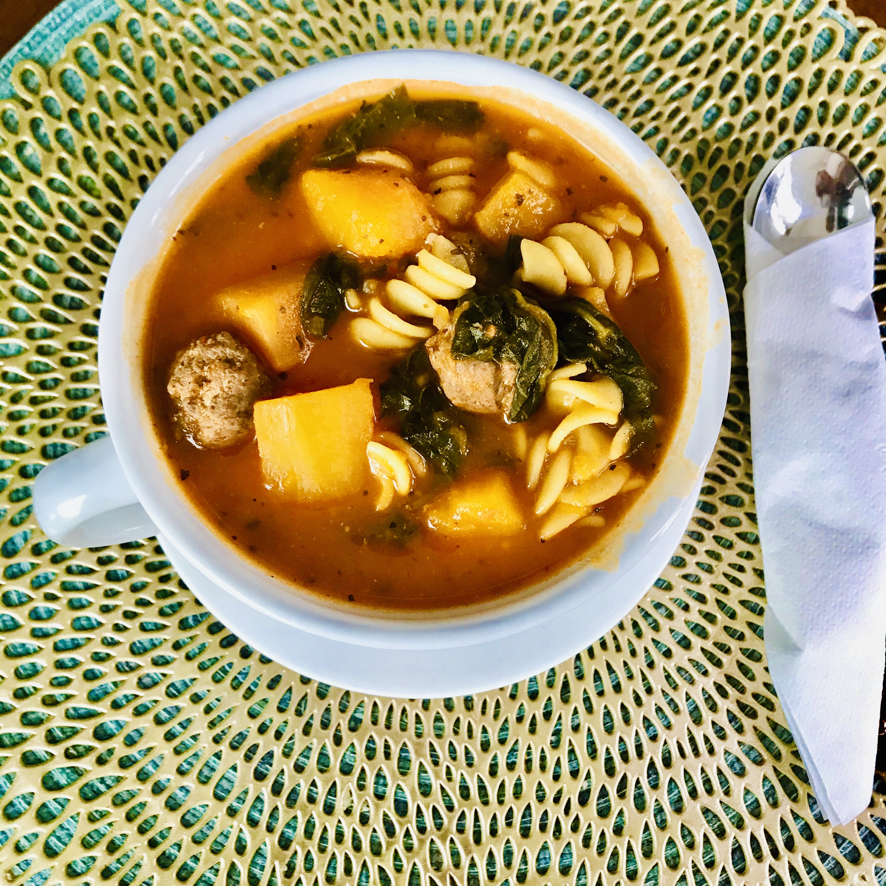 Slow Cooker Butternut Squash Soup with Sausage nathaniel johnson
