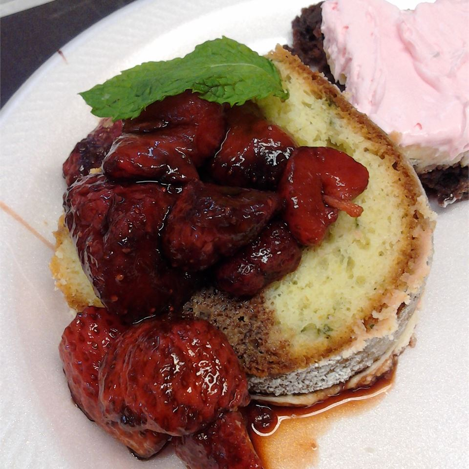 """If you're feeling extra adventurous, try this Bundt cake that features a hint of basil, which is then topped with a strawberry-balsamic sauce. While some reviewers couldn't get past the basil, plenty loved it! Says grandmacj69, """"I tried this recipe because it was so different from other cake recipes. My husband likes it so much he had two pieces."""""""