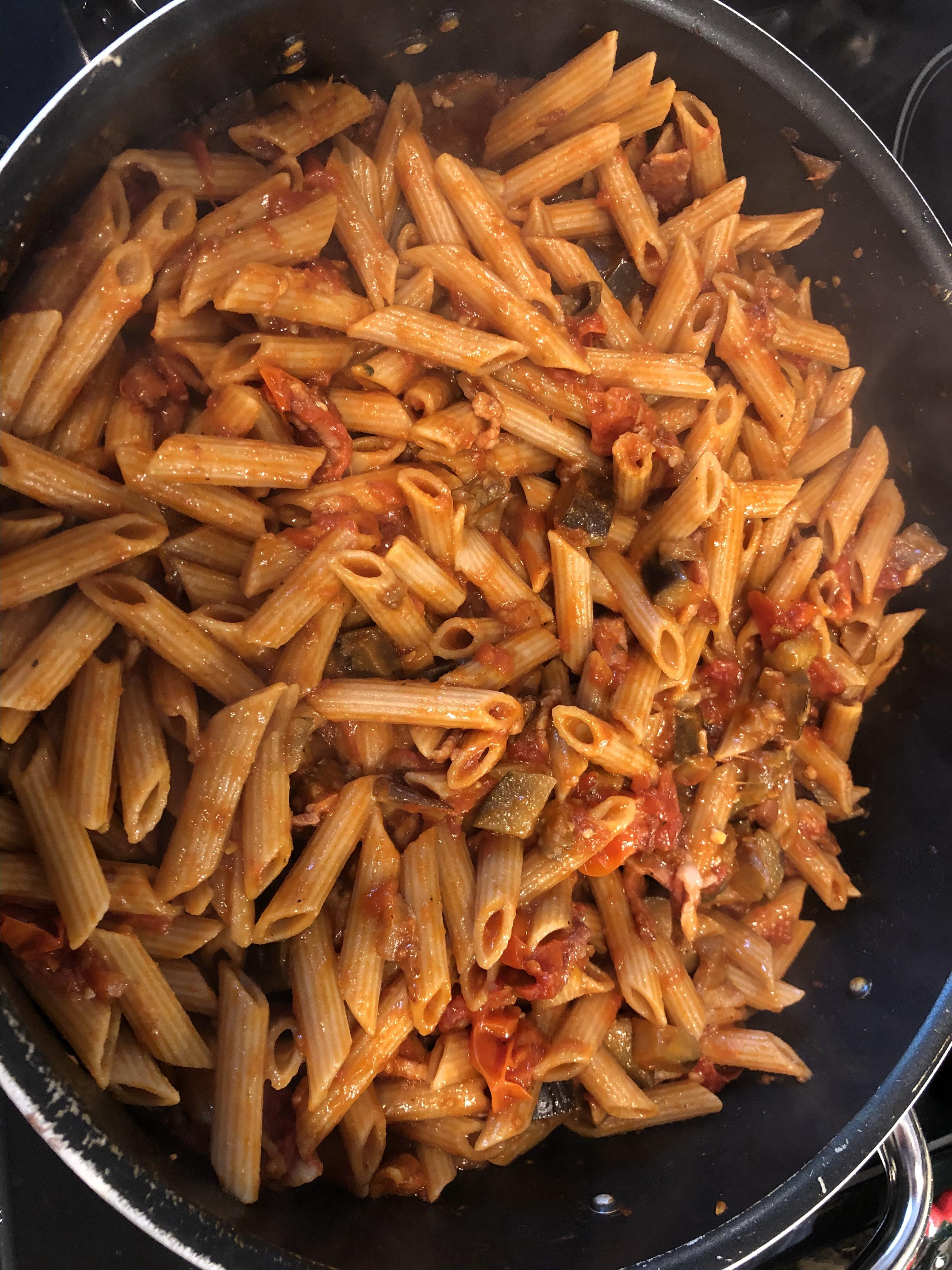 Spicy Eggplant and Pasta with Pancetta janc