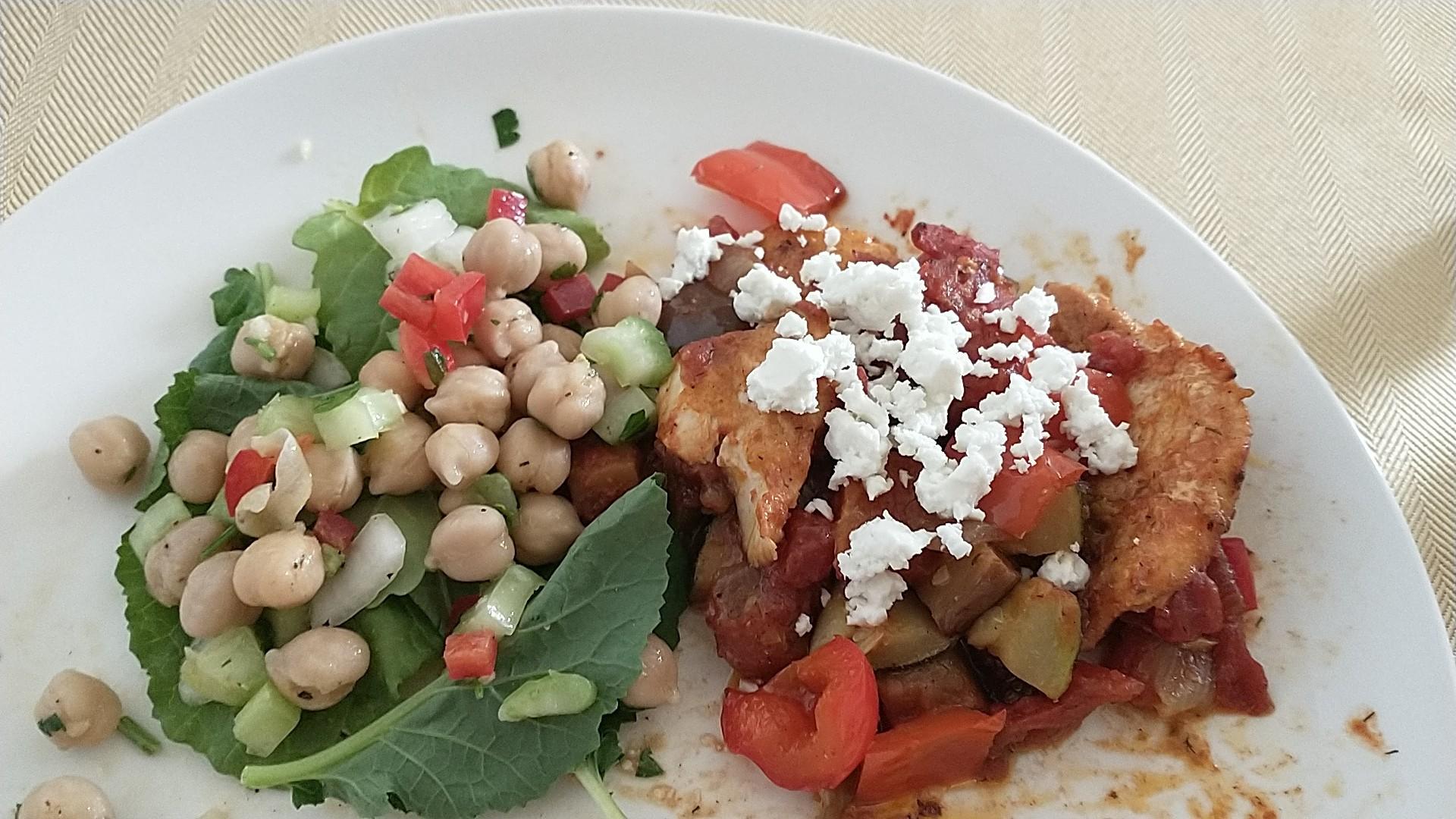 Mediterranean Chicken Medley with Eggplant and Feta