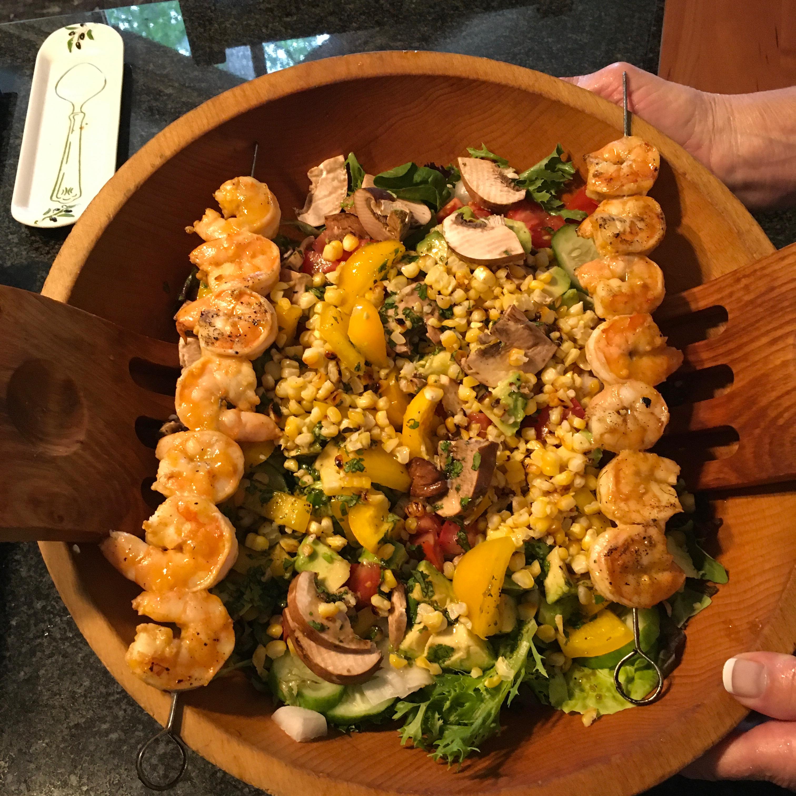 Summer Grilled Shrimp Salad s/v Wind Whisperer
