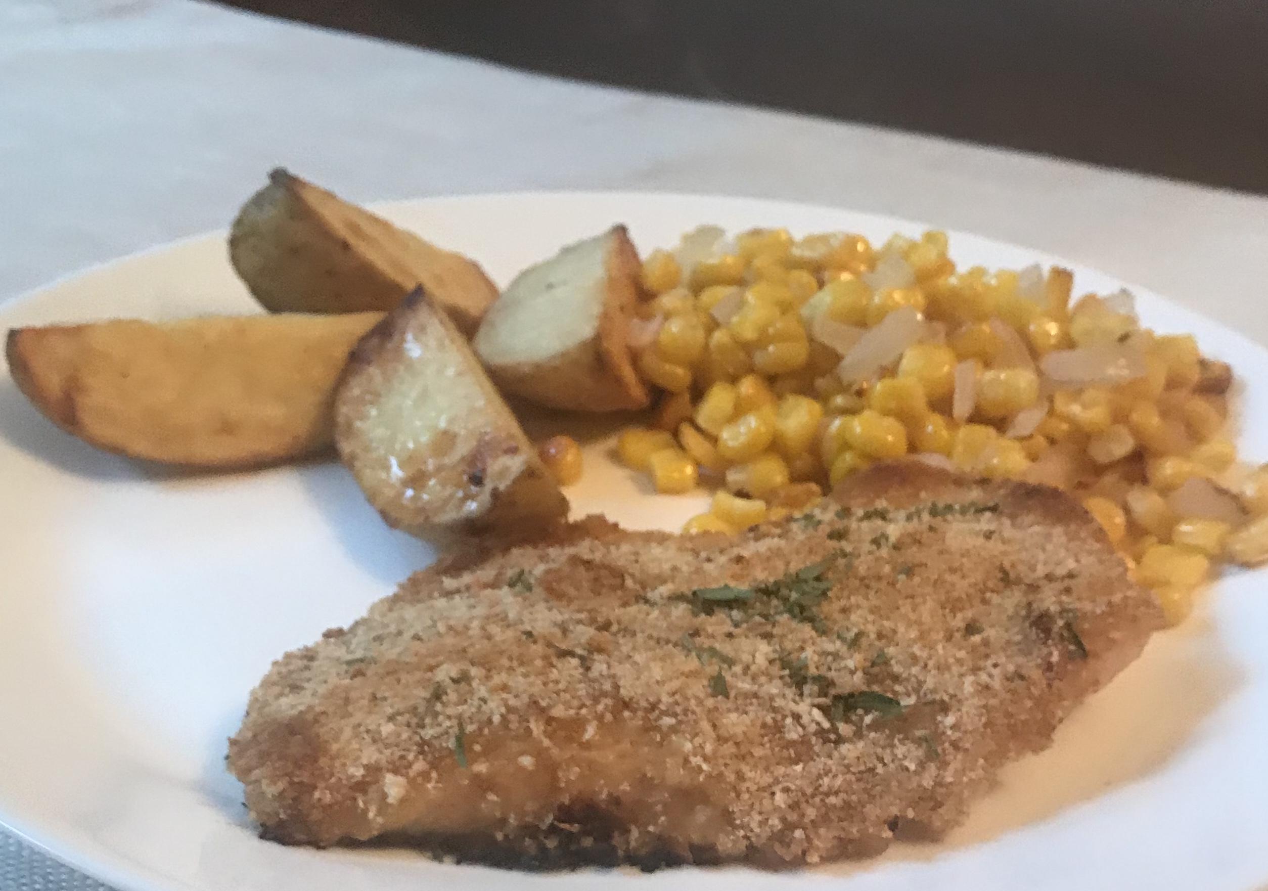 Honey Mustard Chicken Sheet Pan Dinner with Potatoes and Corn image