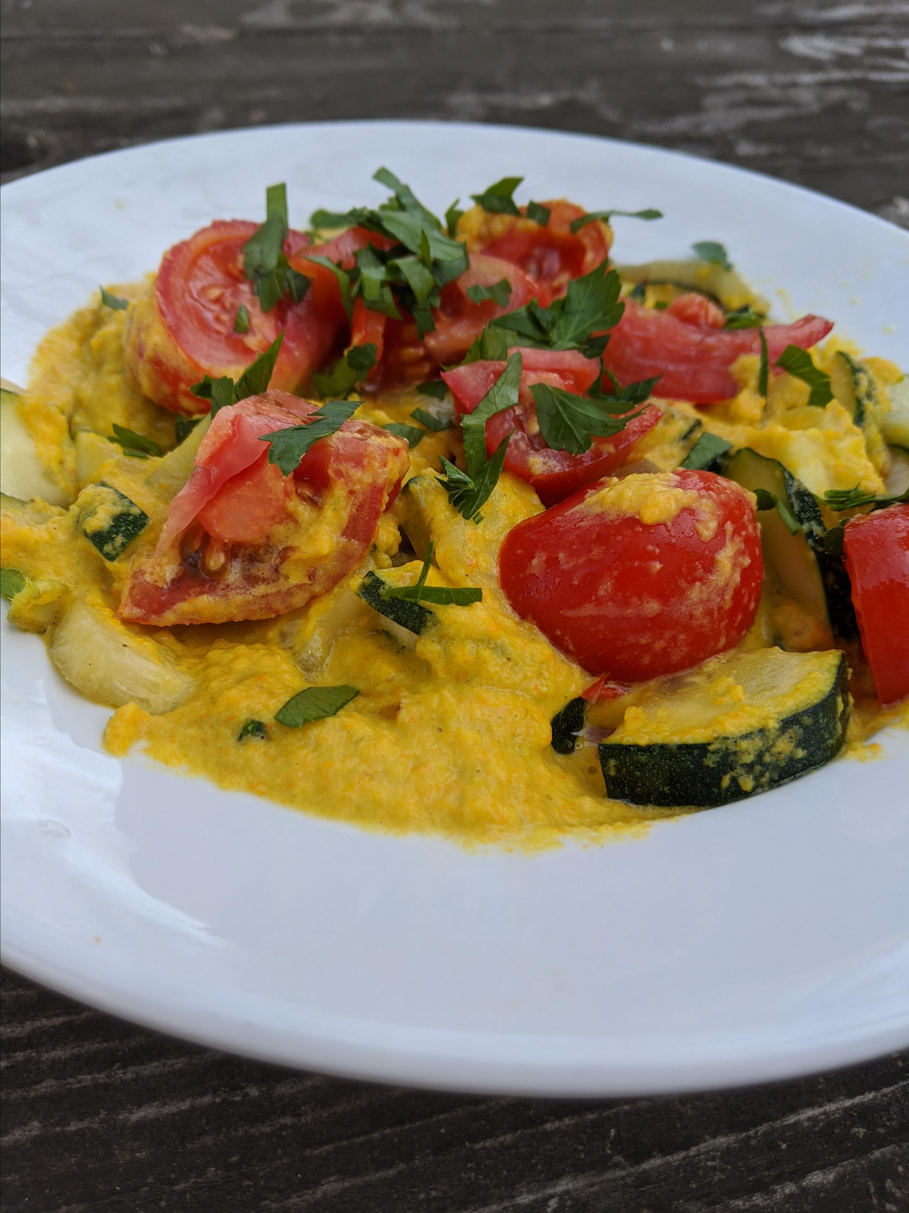 Zucchini with Pumpkin Blossom Cream Sauce and Tomatoes Syd
