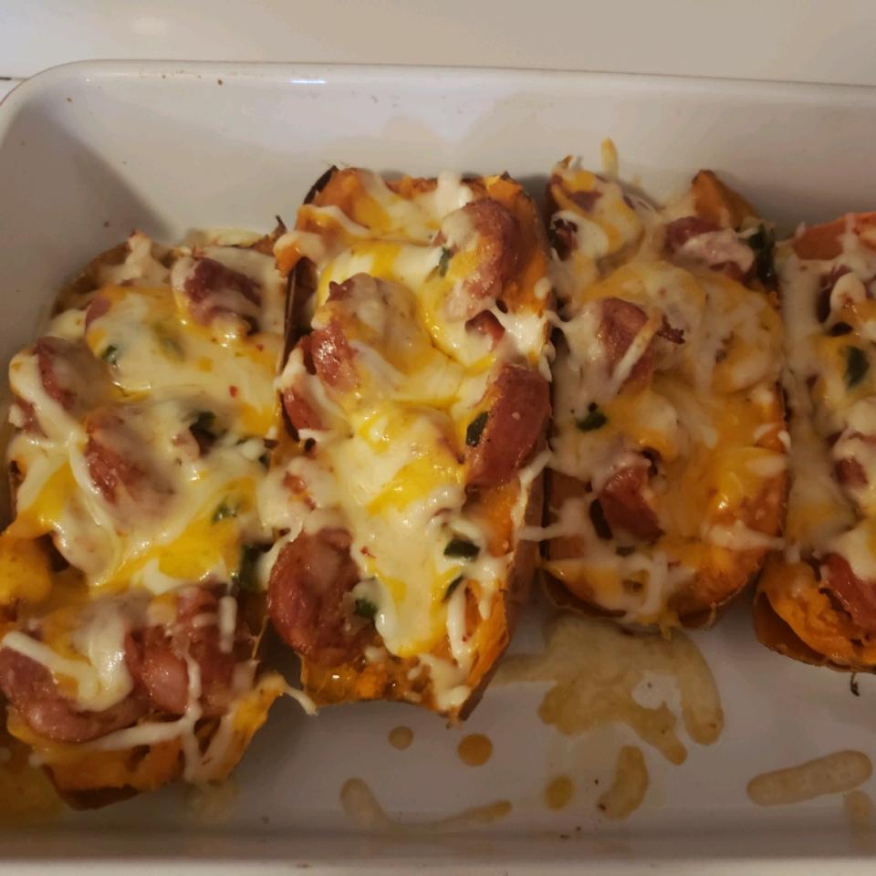 Cheesy Chorizo and Egg Sweet Potato Boats Bexxx