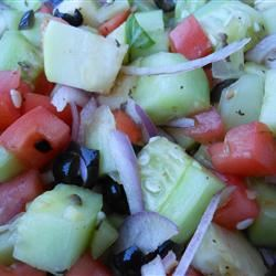 Cucumber Tomato Salad with Zucchini and Black Olives in Lemon Balsamic Vinaigrette SunnyDaysNora