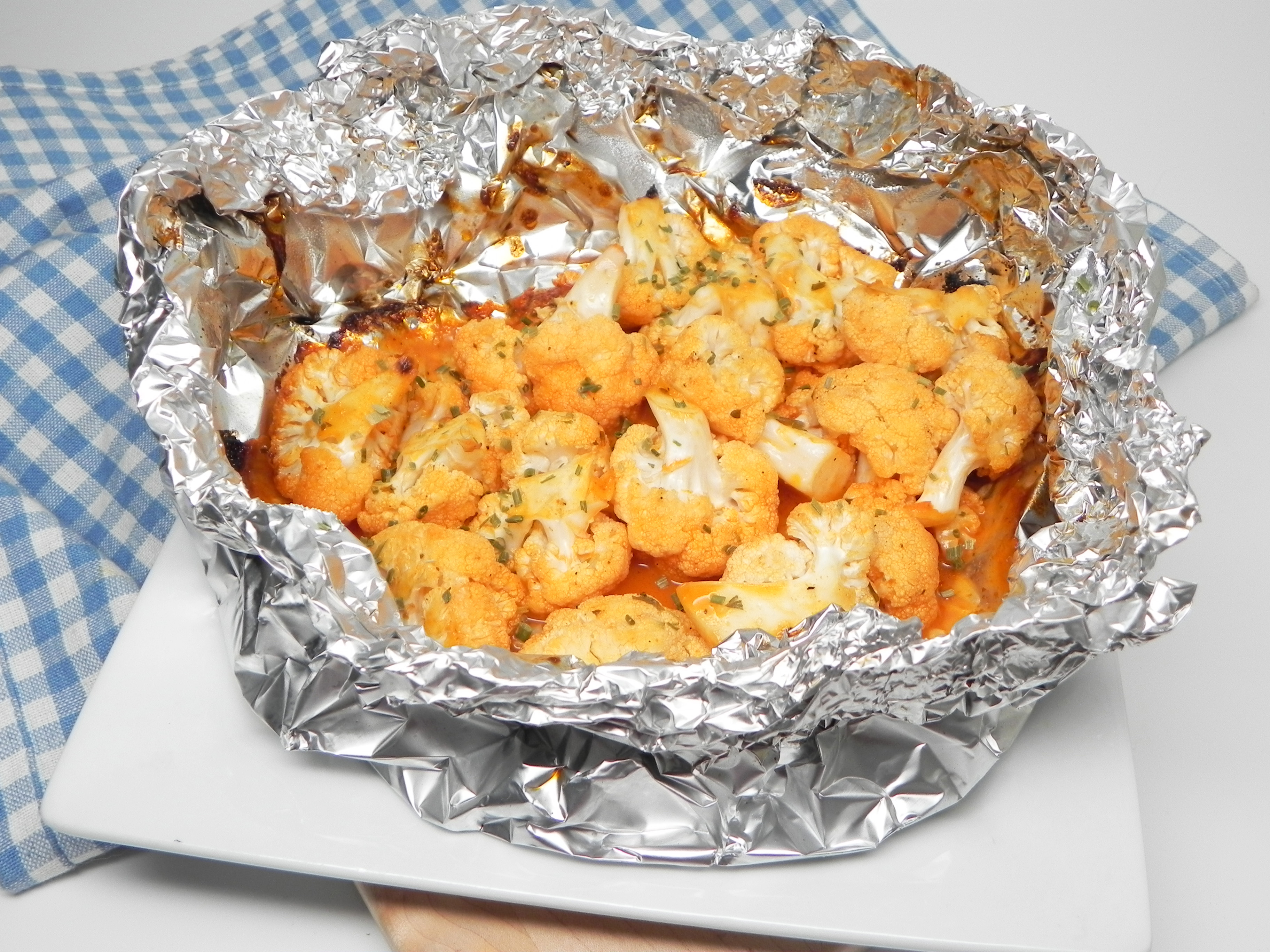 Grilled Buffalo Cauliflower in Foil