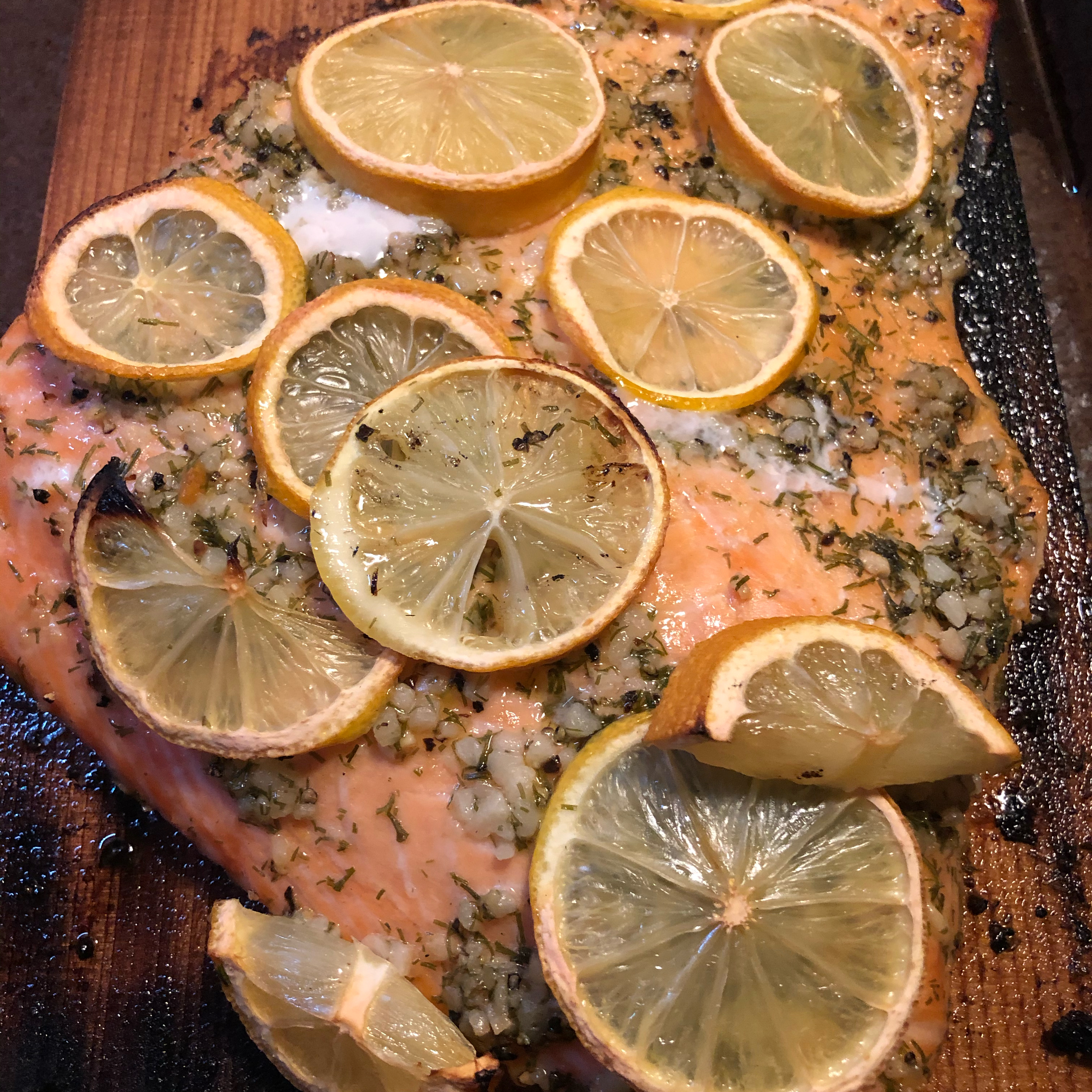 Cedar Plank-Grilled Salmon with Garlic, Lemon and Dill