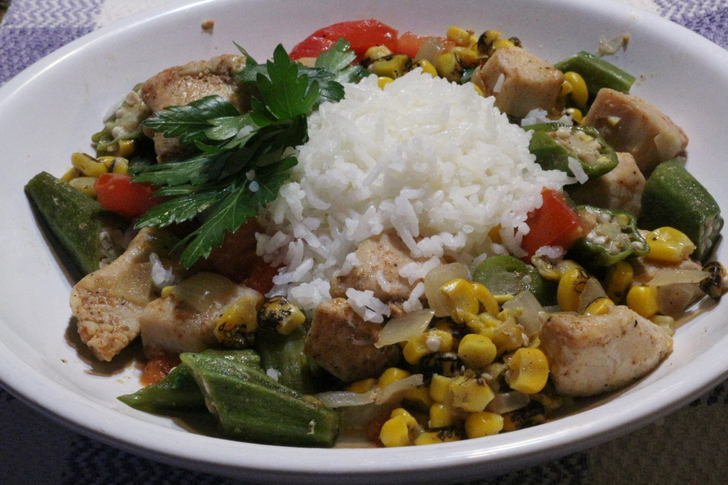Chicken Stew with Okra, Corn, and Tomatoes