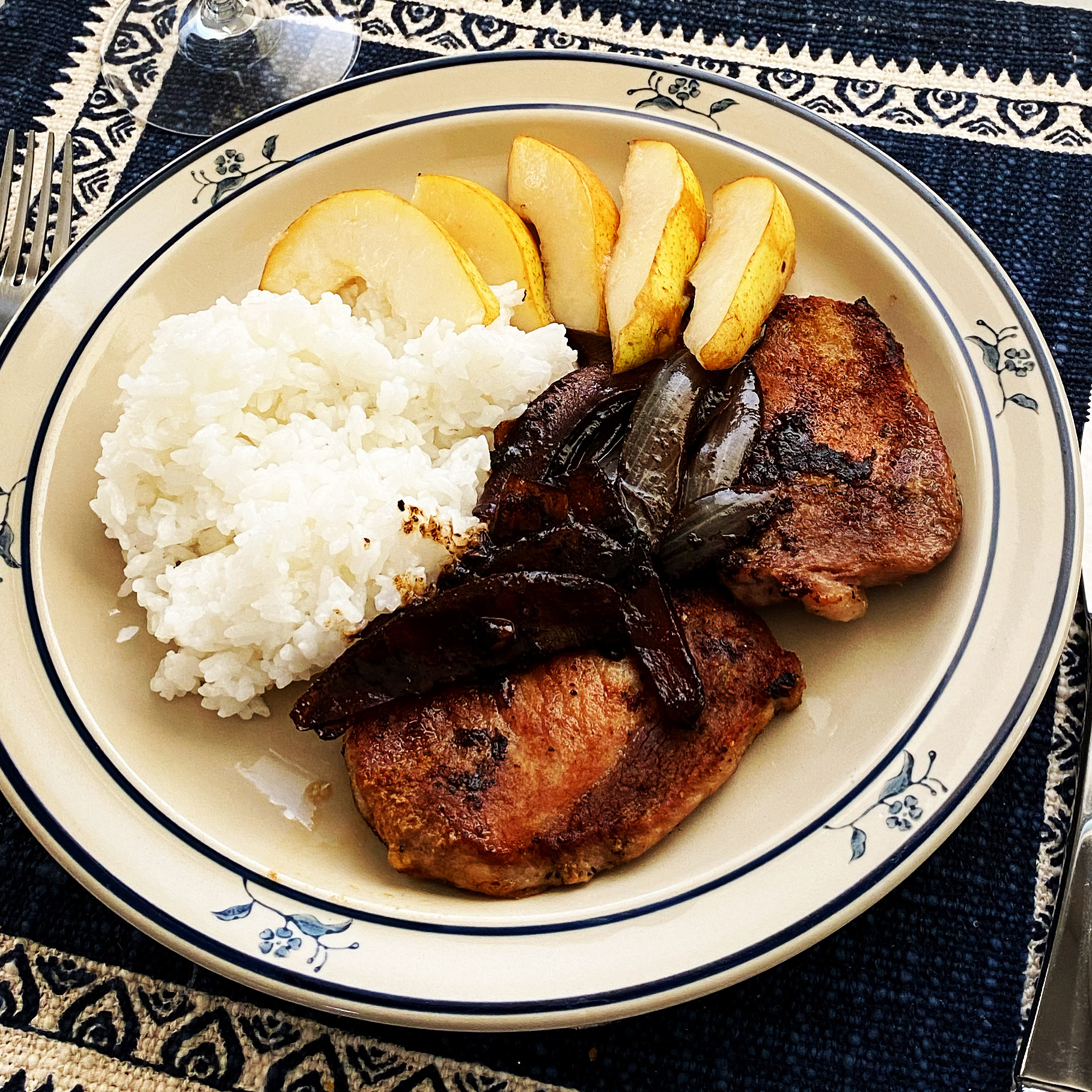Grilled Pork Chops with Balsamic Caramelized Pears Laura Landeros Cook