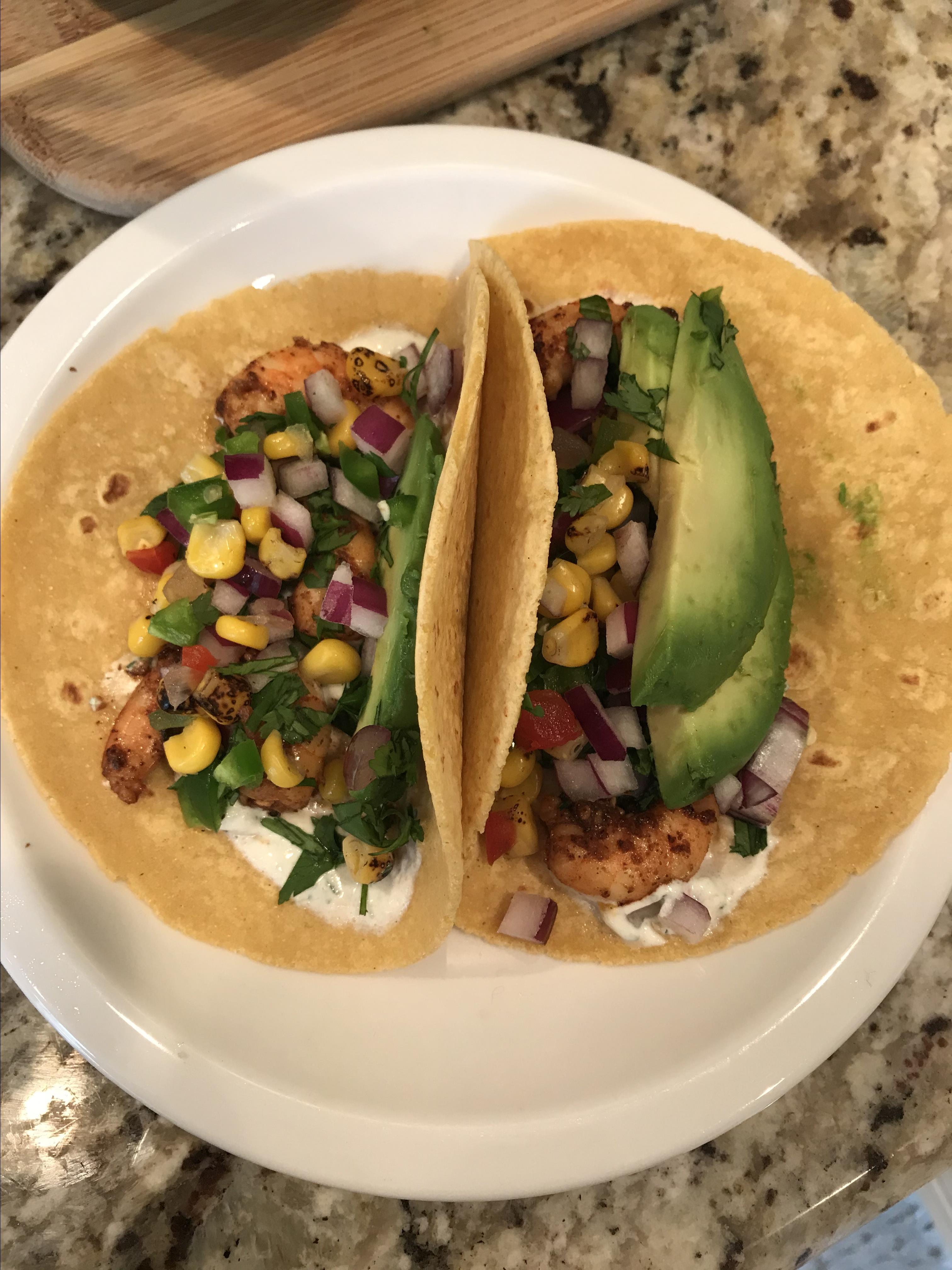 Shrimp Tacos with Cilantro-Lime Crema gkfrazer