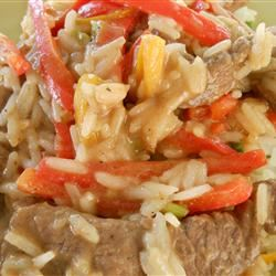 Pepper Rice and Confetti Beef