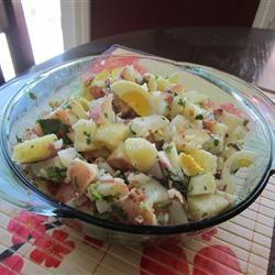 Roasted Potato Salad with Balsamic-Bacon Vinaigrette Traci-in-Cali