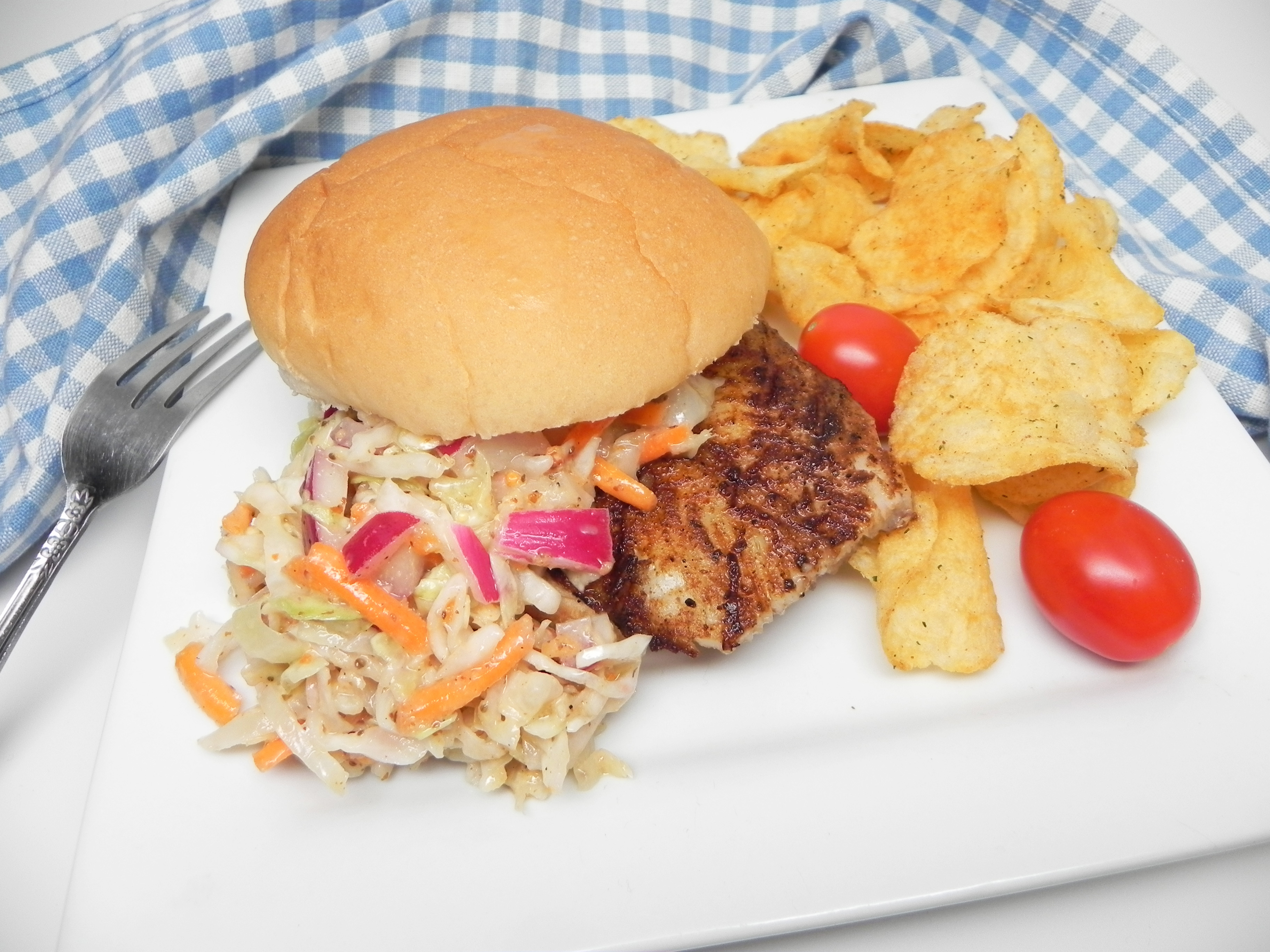 Grilled Blackened Fish Sandwiches with Homemade Slaw
