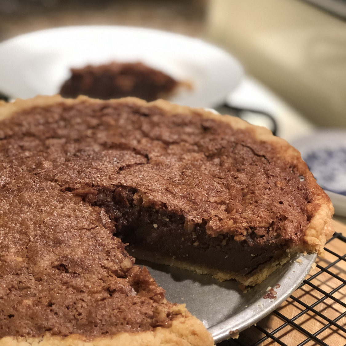Chocolate Buttermilk Pie with Whiskey and Almonds