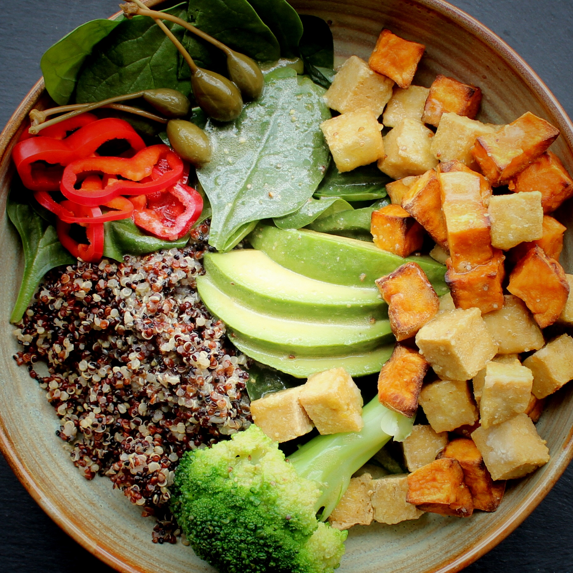 Quinoa Salad with Crispy Tofu Cubes and Lime Vinaigrette