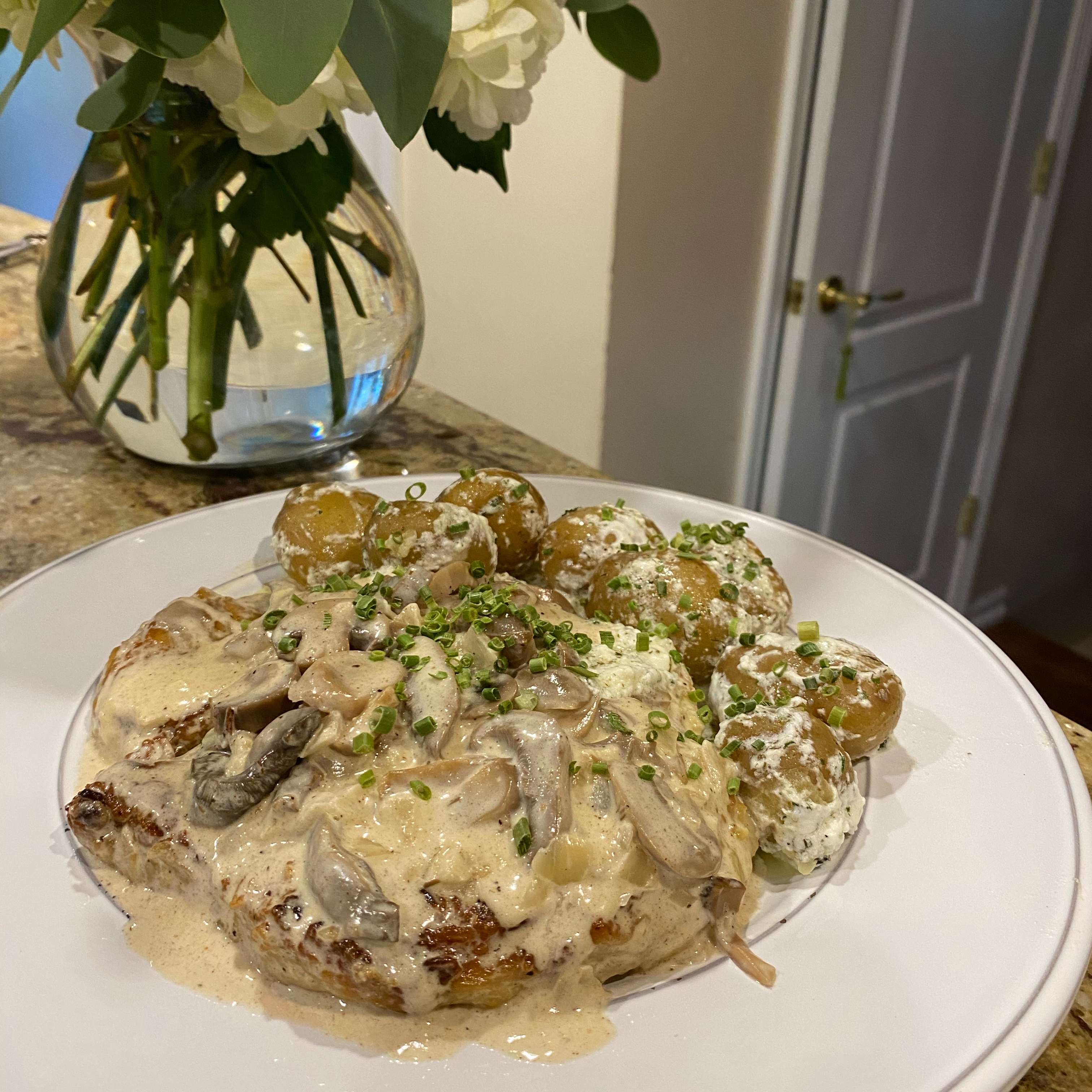 Pork Cutlets in a Chanterelle Cream Sauce with Dill Potatoes