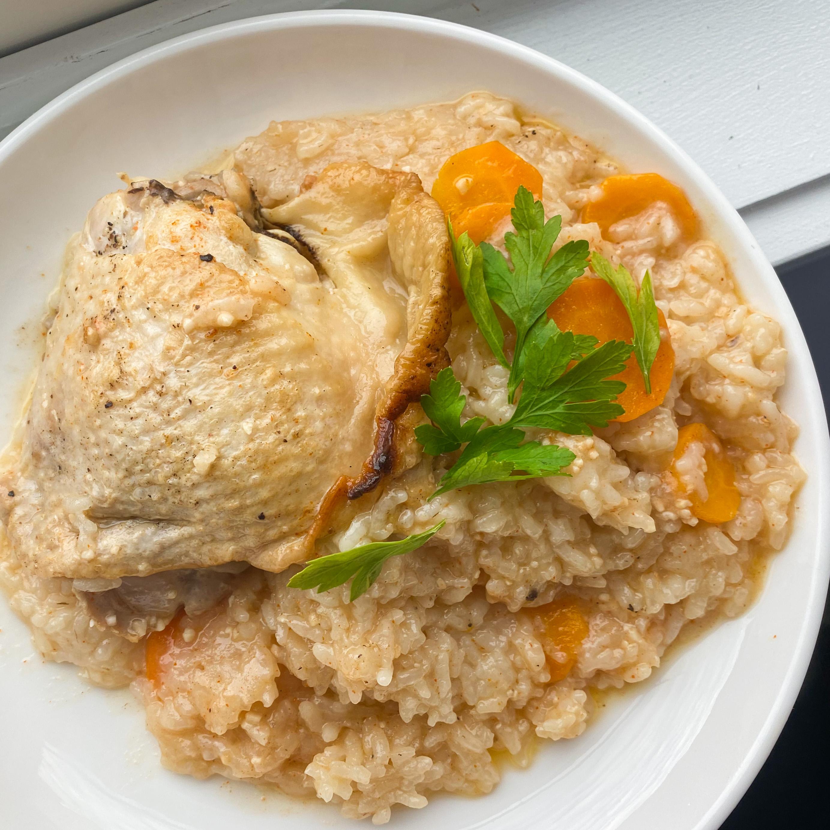 Slow Cooker Lemon-Garlic Chicken and Rice