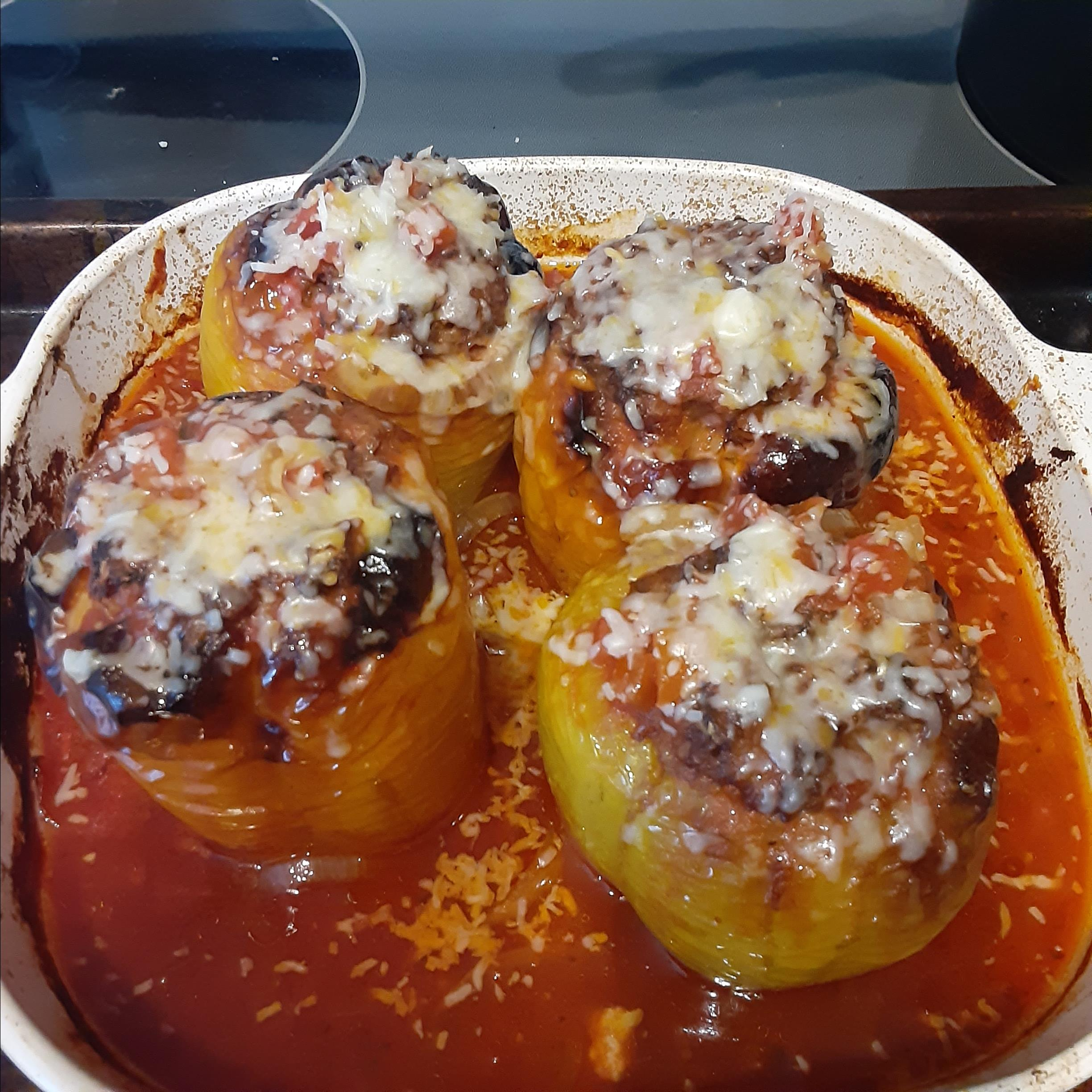 Beef and Rice Stuffed Bell Peppers Gina West
