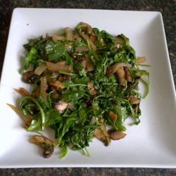 Wilted Arugula and Portobello Mushrooms iwashmycar