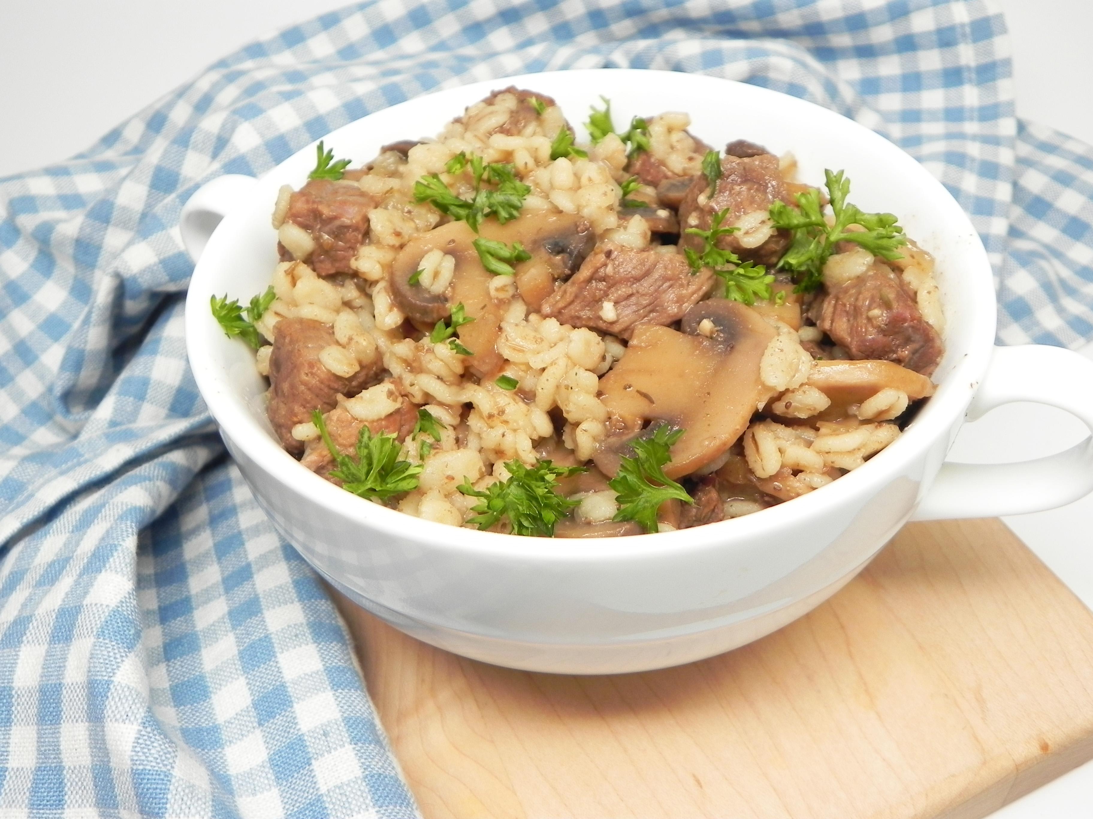Instant Pot® Beef, Mushroom, and Barley Bowl