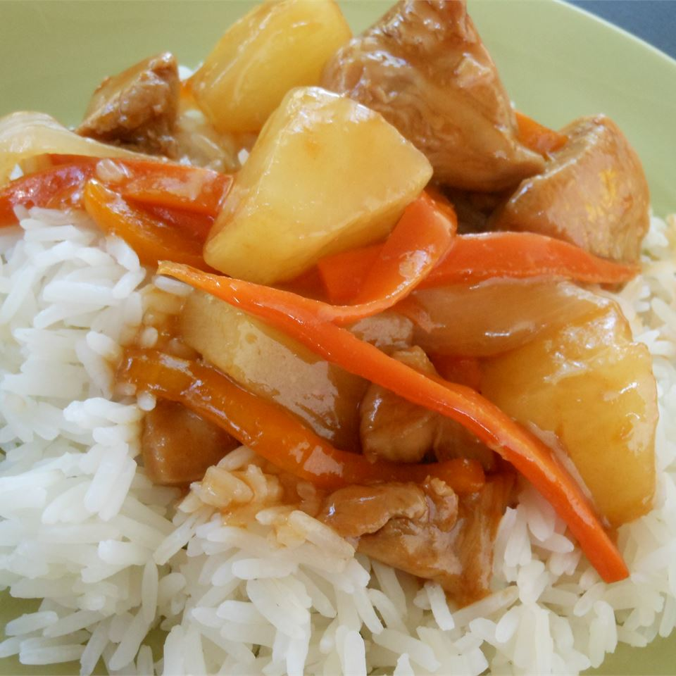 """Sweet, tangy with cider vinegar, and satisfying. The chicken is stir fried instead of battered and deep fried, and is served with a yummy sauce, bell pepper, carrots, onion, and pineapple over rice,"" says ad6faith."