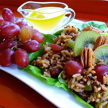 back to nutty wild rice salad with kiwifruit and red grapes recipe