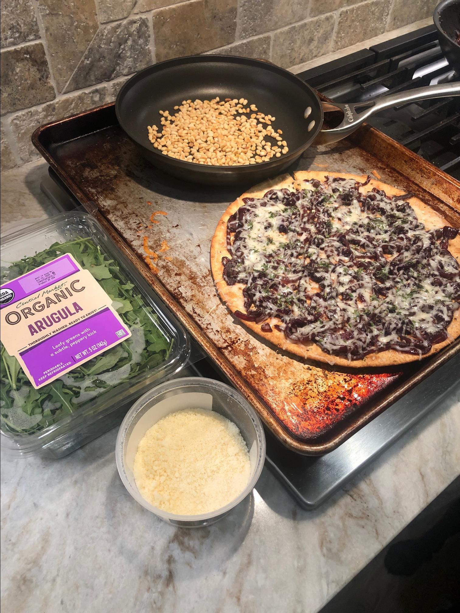 Caramelized Onion and Arugula Pizza