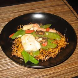 Chinese Noodle Pancakes with Asparagus Em