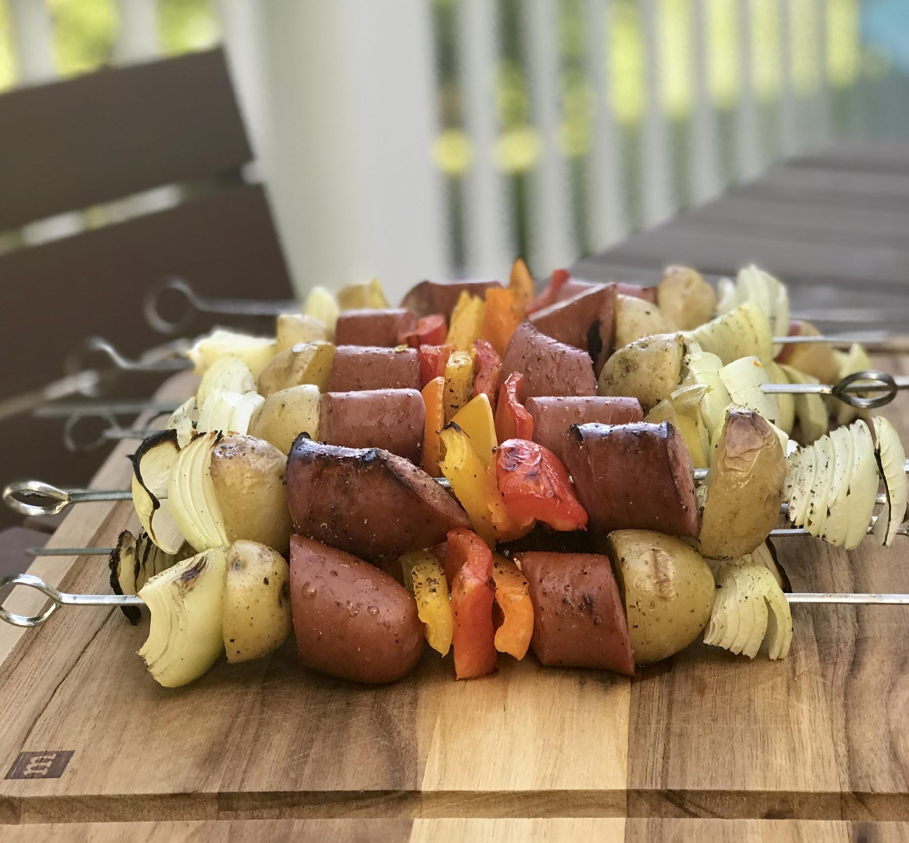 Grilled Turkey Sausage Kabobs FrackFamily5 CA—>CT