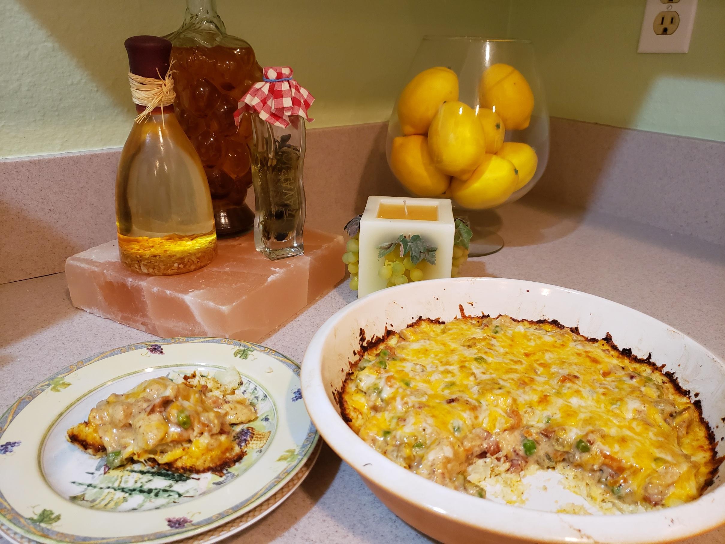 Keto Chicken Breast Pot Pie with Cauliflower Crust DeDe